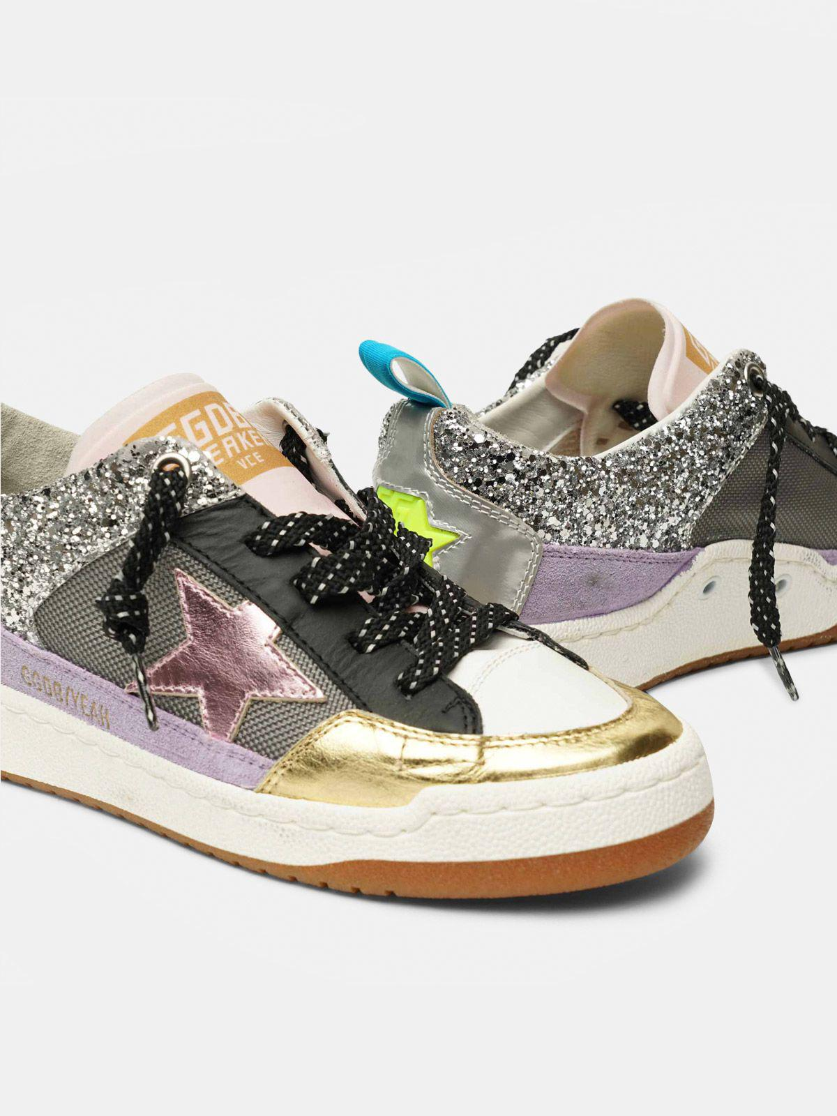 Yeah! sneakers in silver mesh with a pink star 3