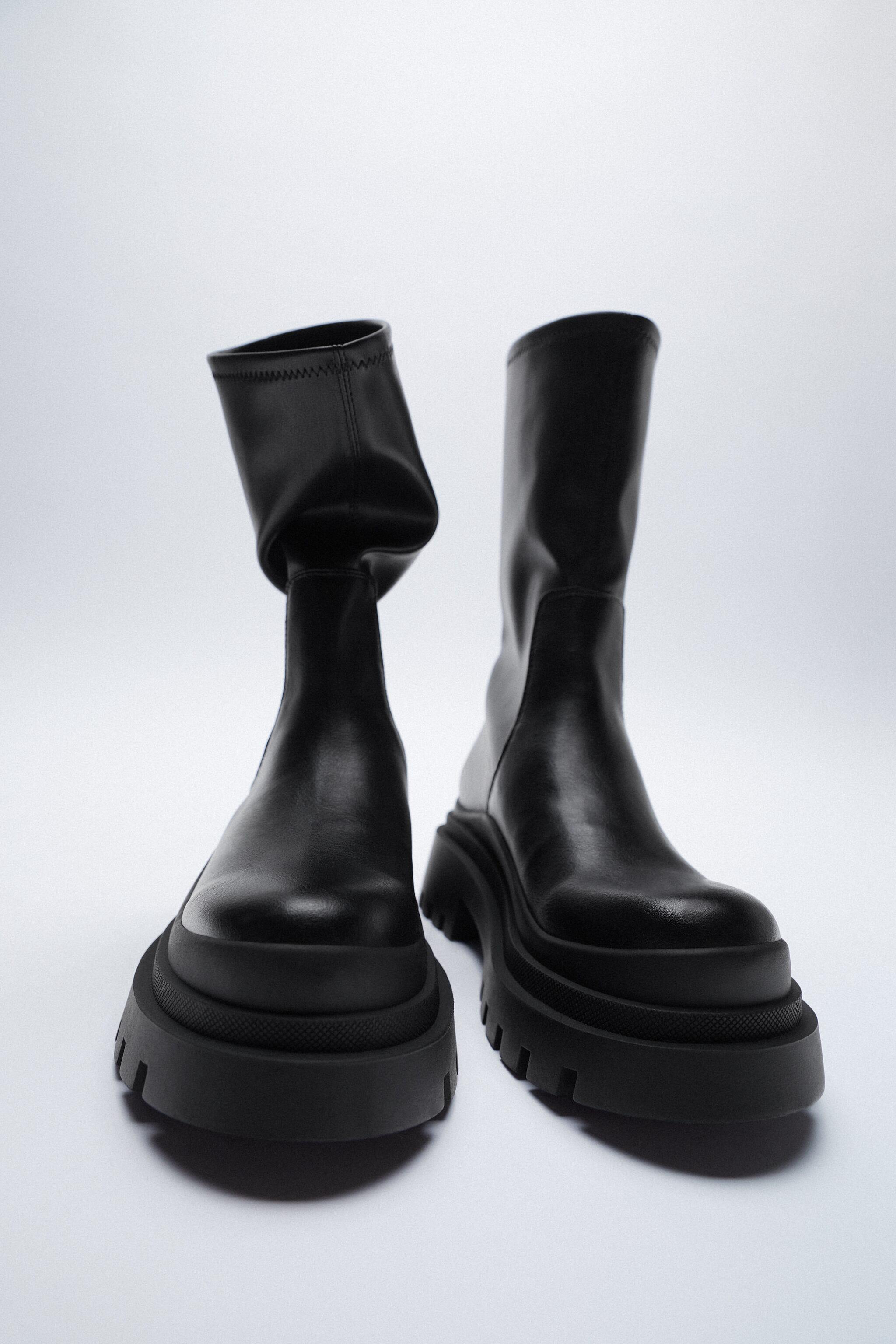 LOW HEELED LUG SOLE ANKLE BOOTS 1
