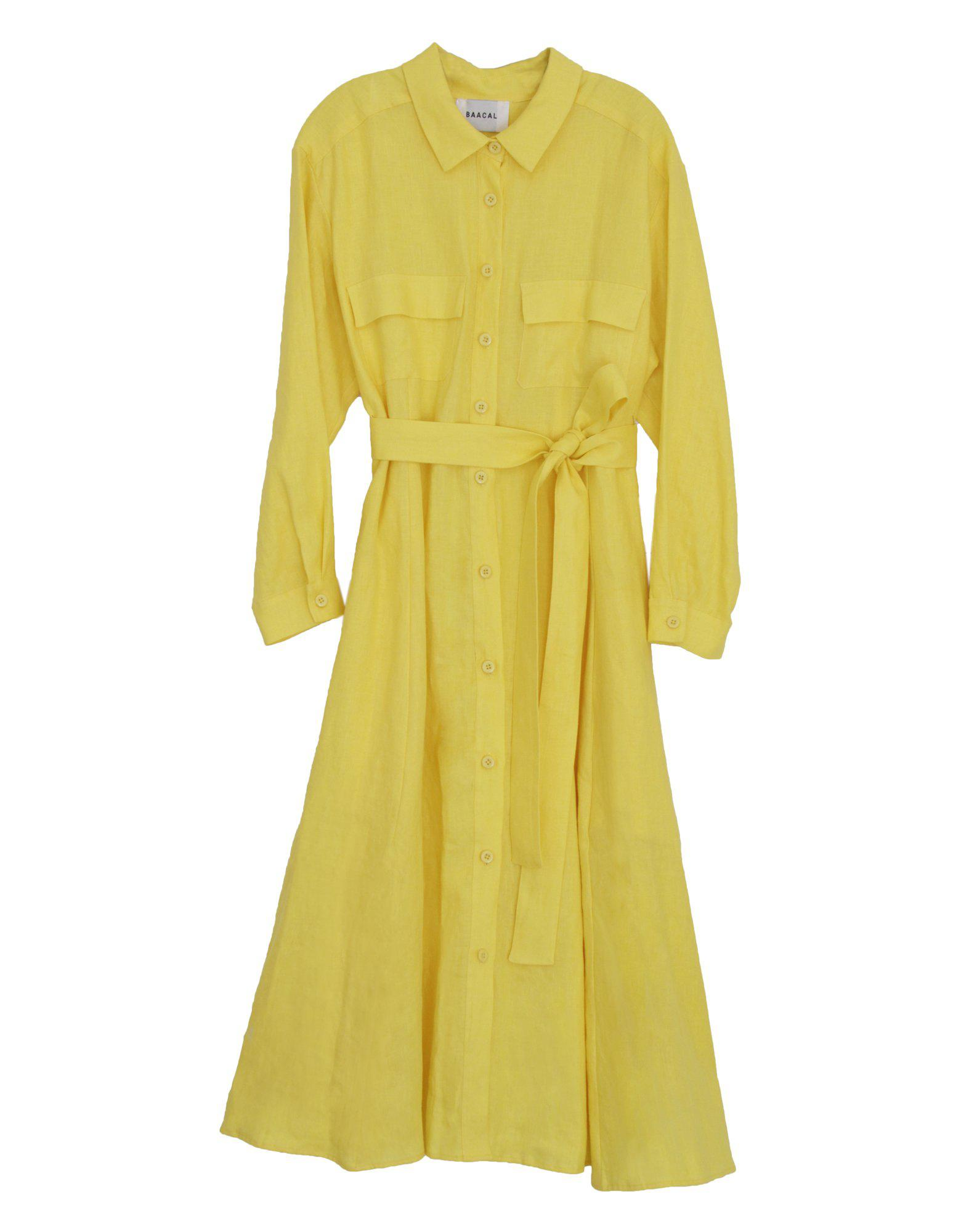 Waisted Shirt Dress with Belt in Yellow 0