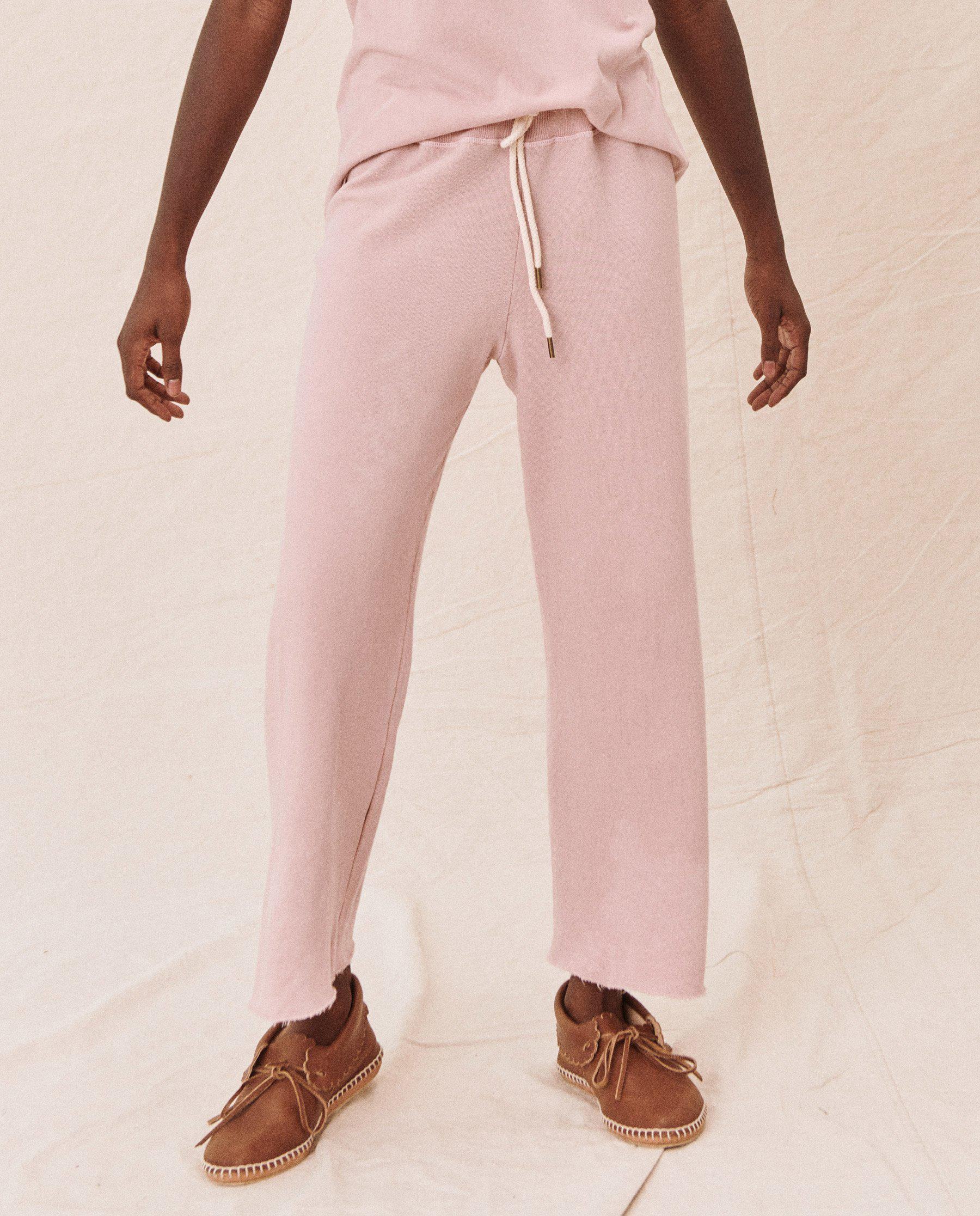 The Wide Leg Cropped Sweatpant. -- CARNATION 1