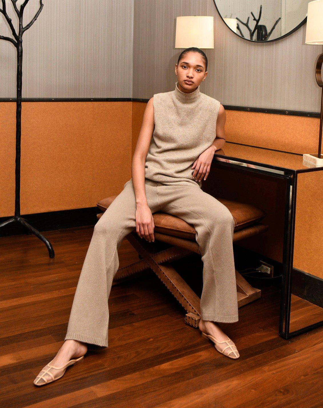 Pearl Knit Pants in Taupe