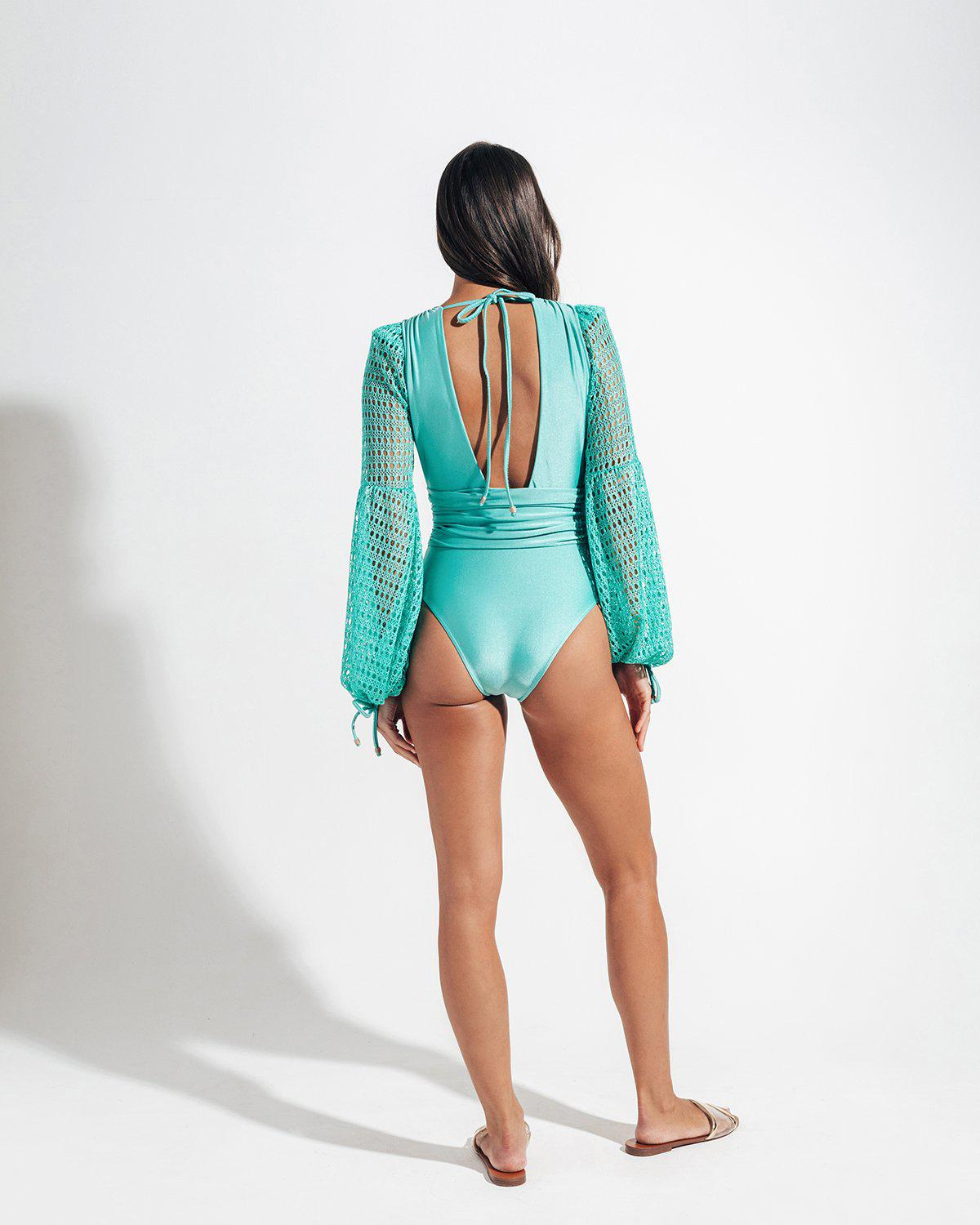 NETTED SLEEVE SWIMSUIT 4