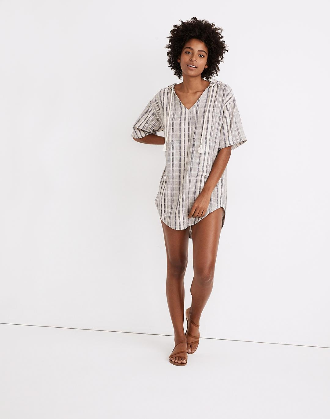 Hooded Cover-Up Tunic Dress in Stripe