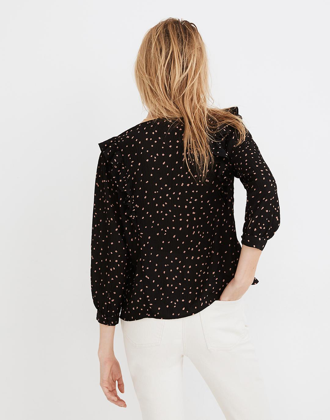 Ruffled Button-Front Top in Confetti Toss 2