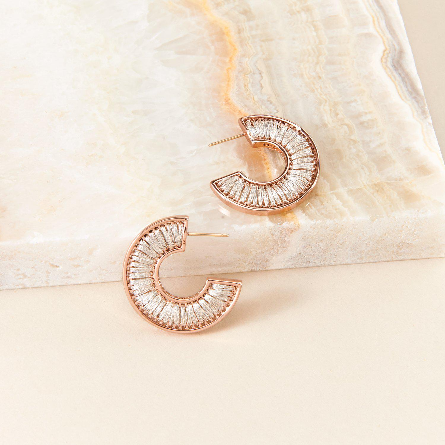 Mini Fiona Hoops Silver/Rose Gold