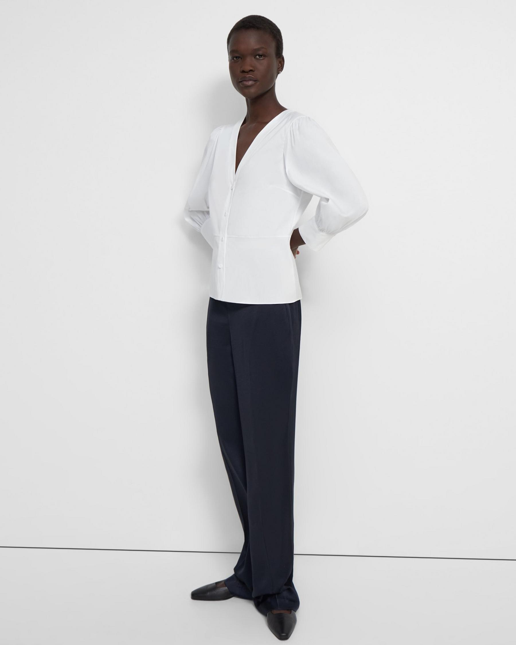 Gathered-Sleeve Top in Good Cotton 1