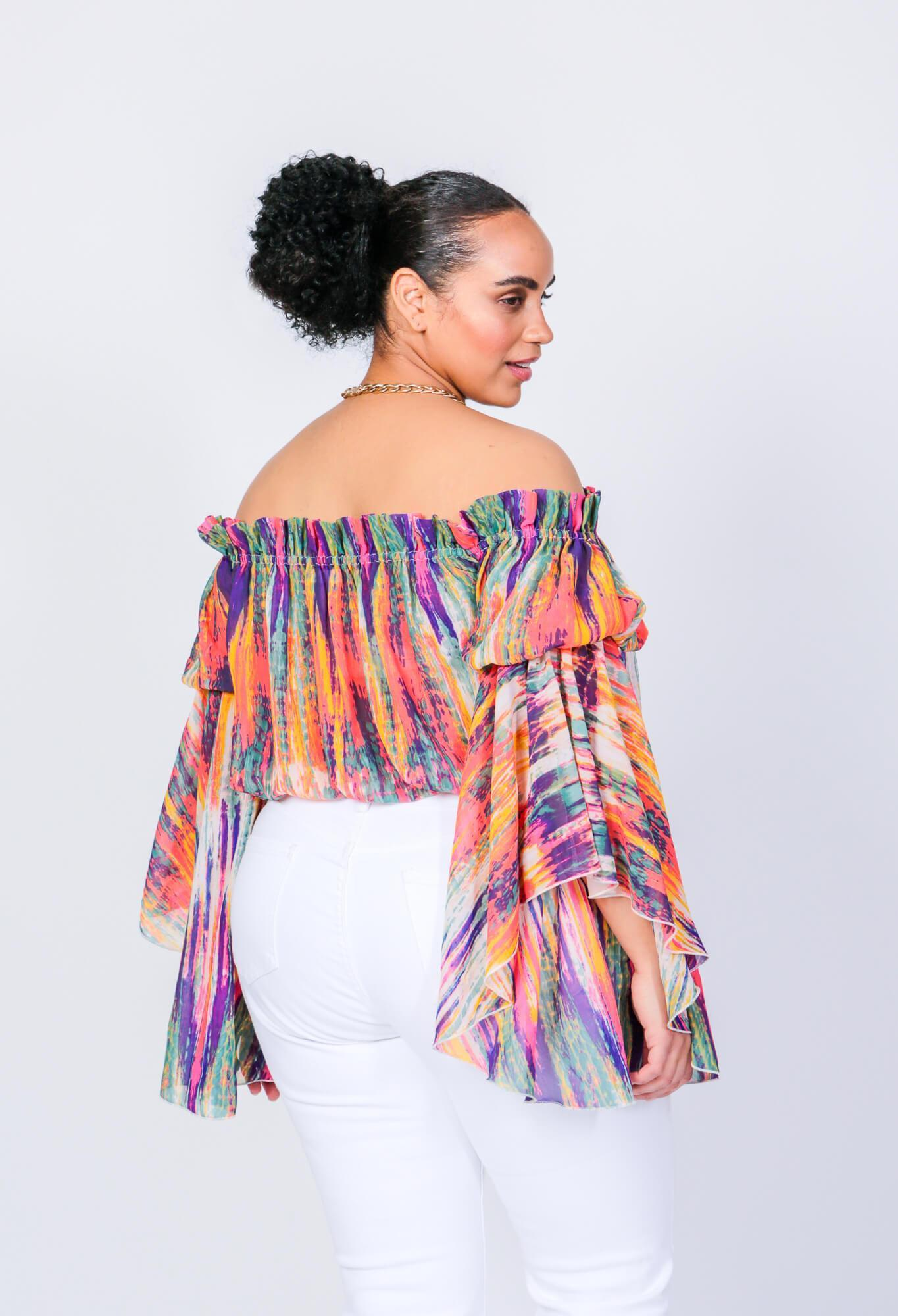 Bright Stripe Brittney Off The Shoulder Bell Sleeve Top 5