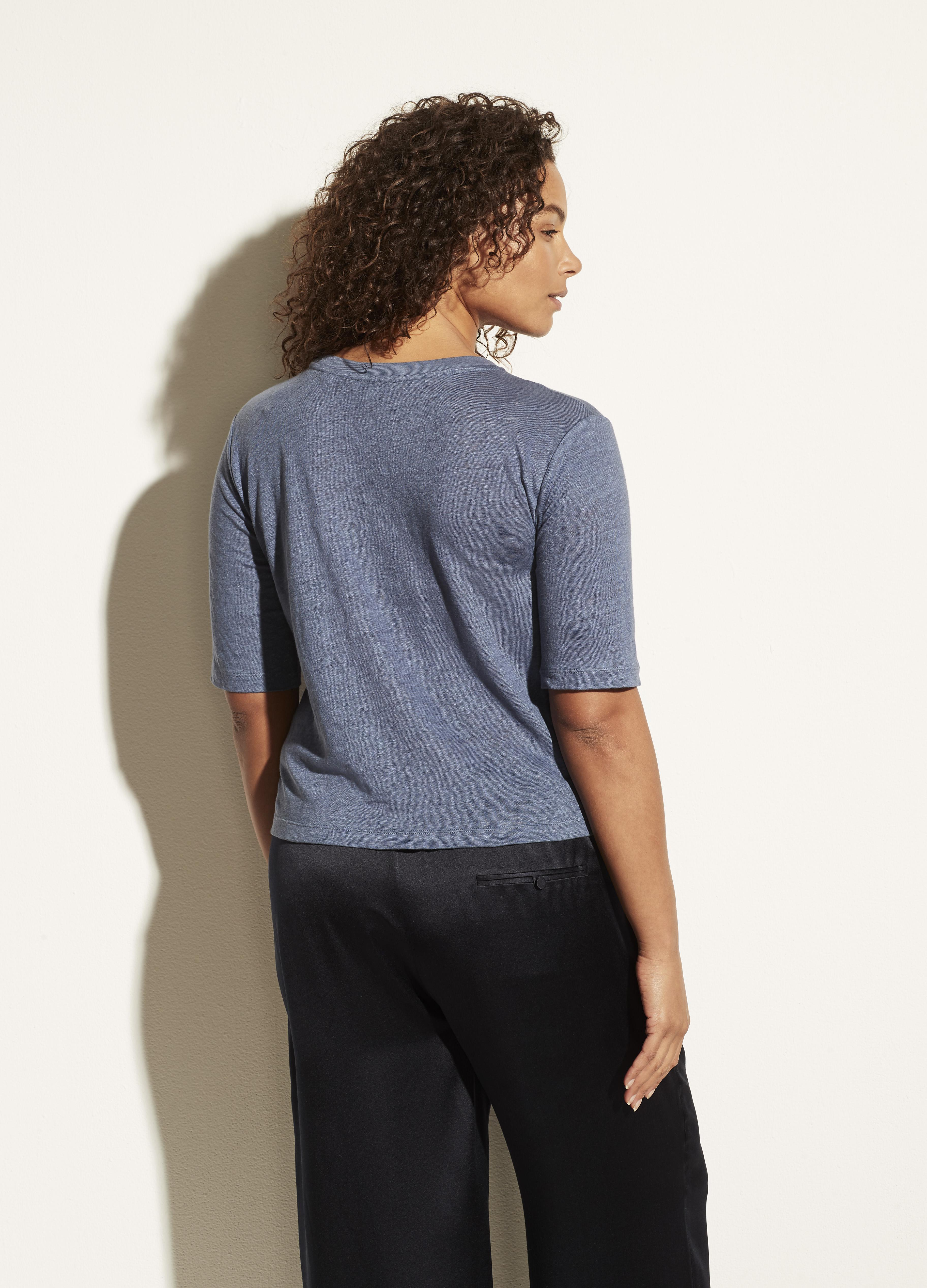 Linen Relaxed Elbow Sleeve Crew 3