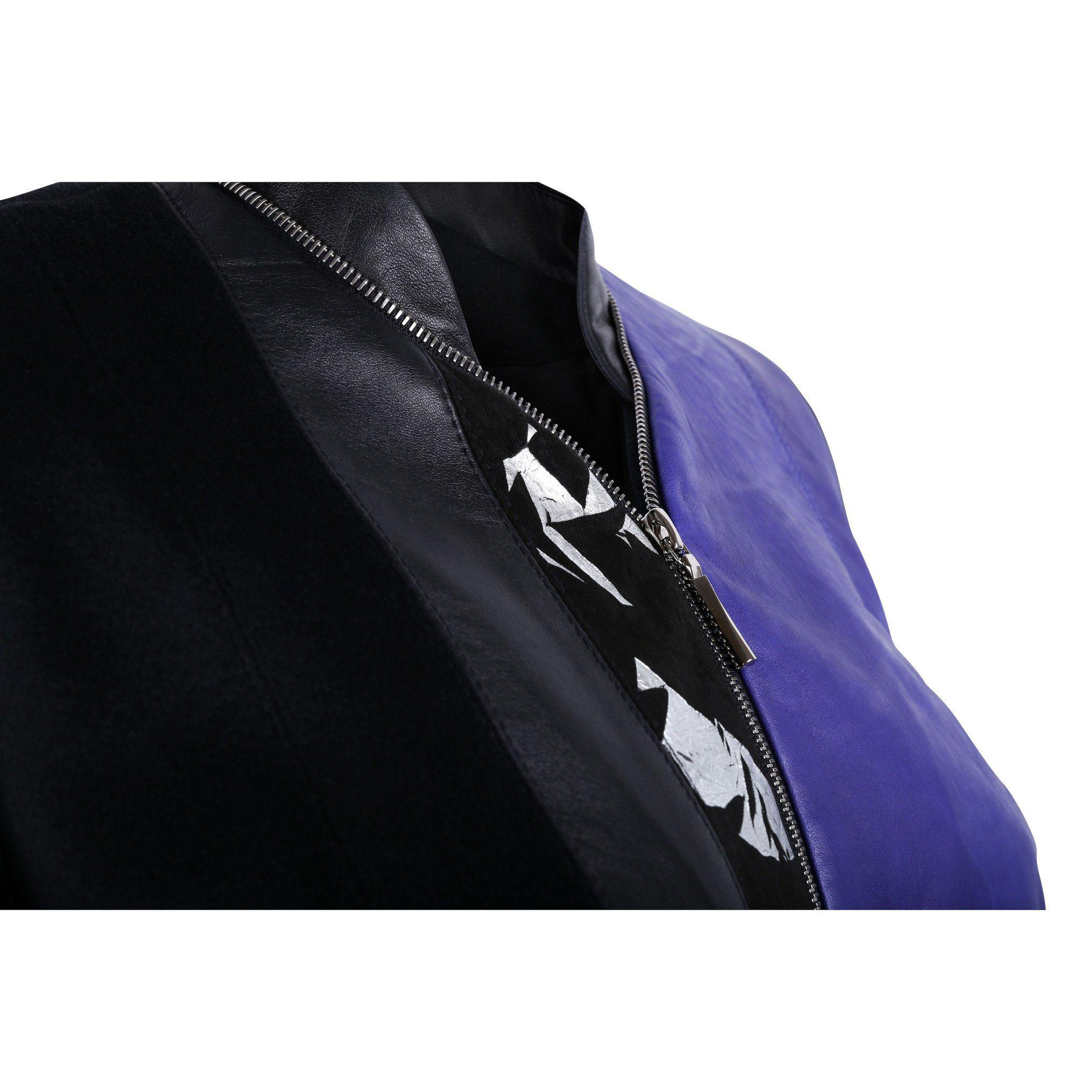 Black and Purple Leather Bomber Jacket with Silver Print Motif 1