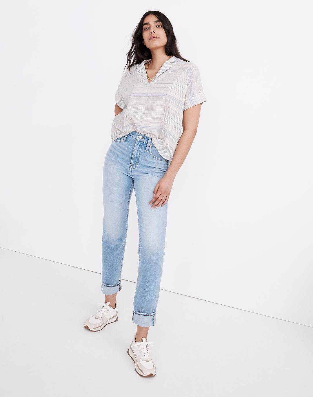 Petite Classic Straight Jeans in Sayles Wash: Pride Rainbow Selvedge Edition