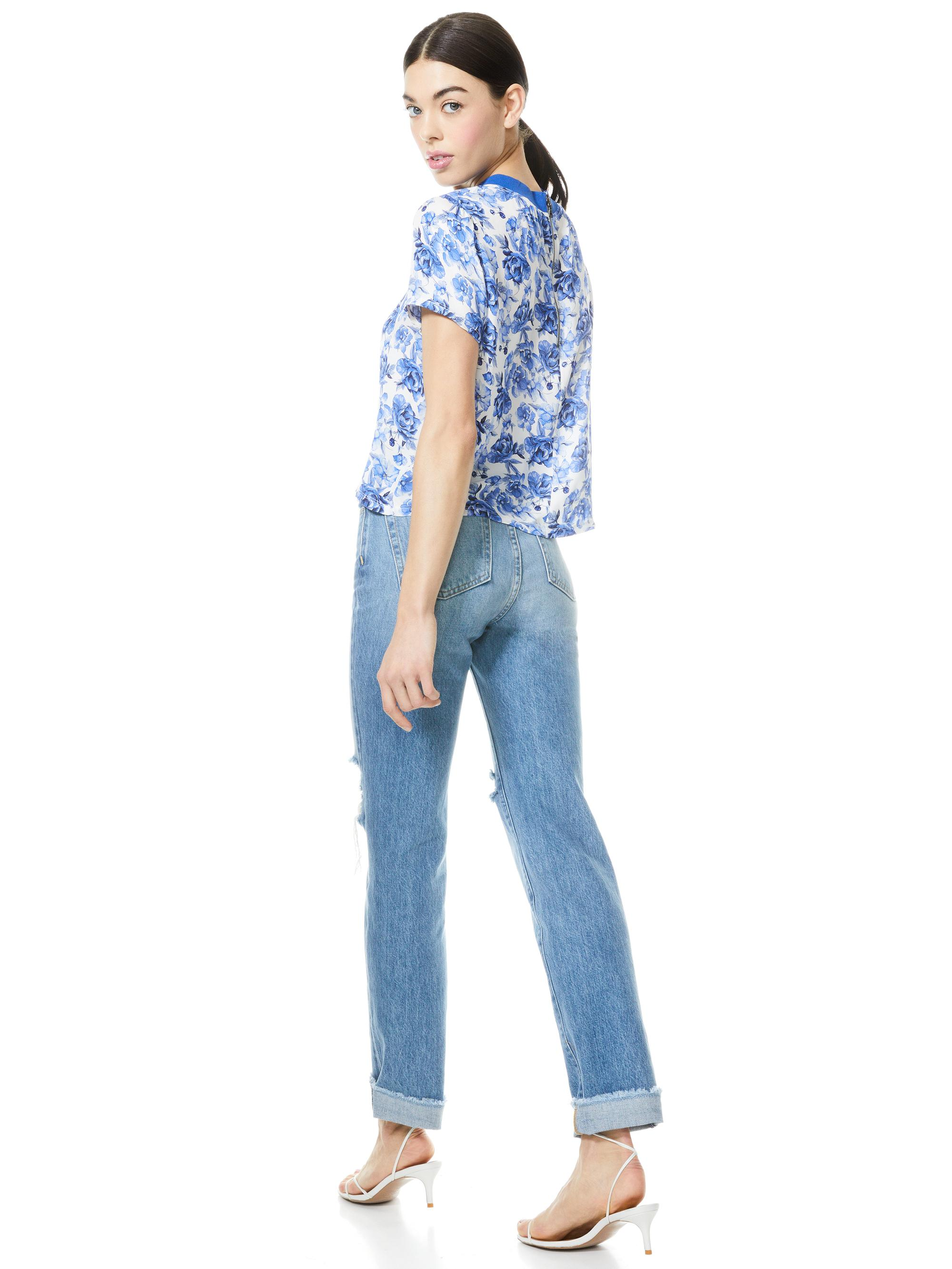KANE FLORAL TIE FRONT TEE 1