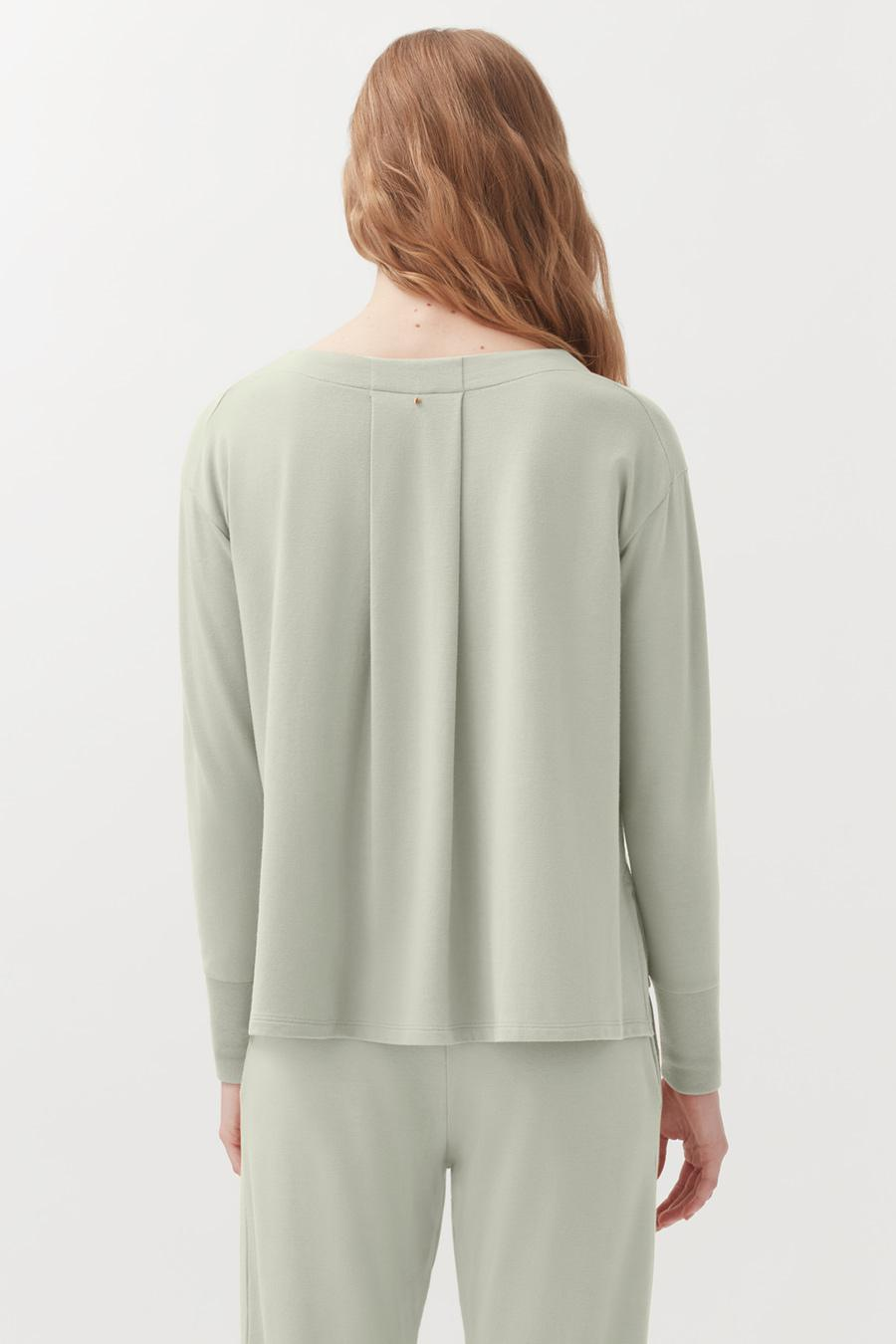 Women's French Terry V-Neck Sweatshirt in Sage | Size: 2