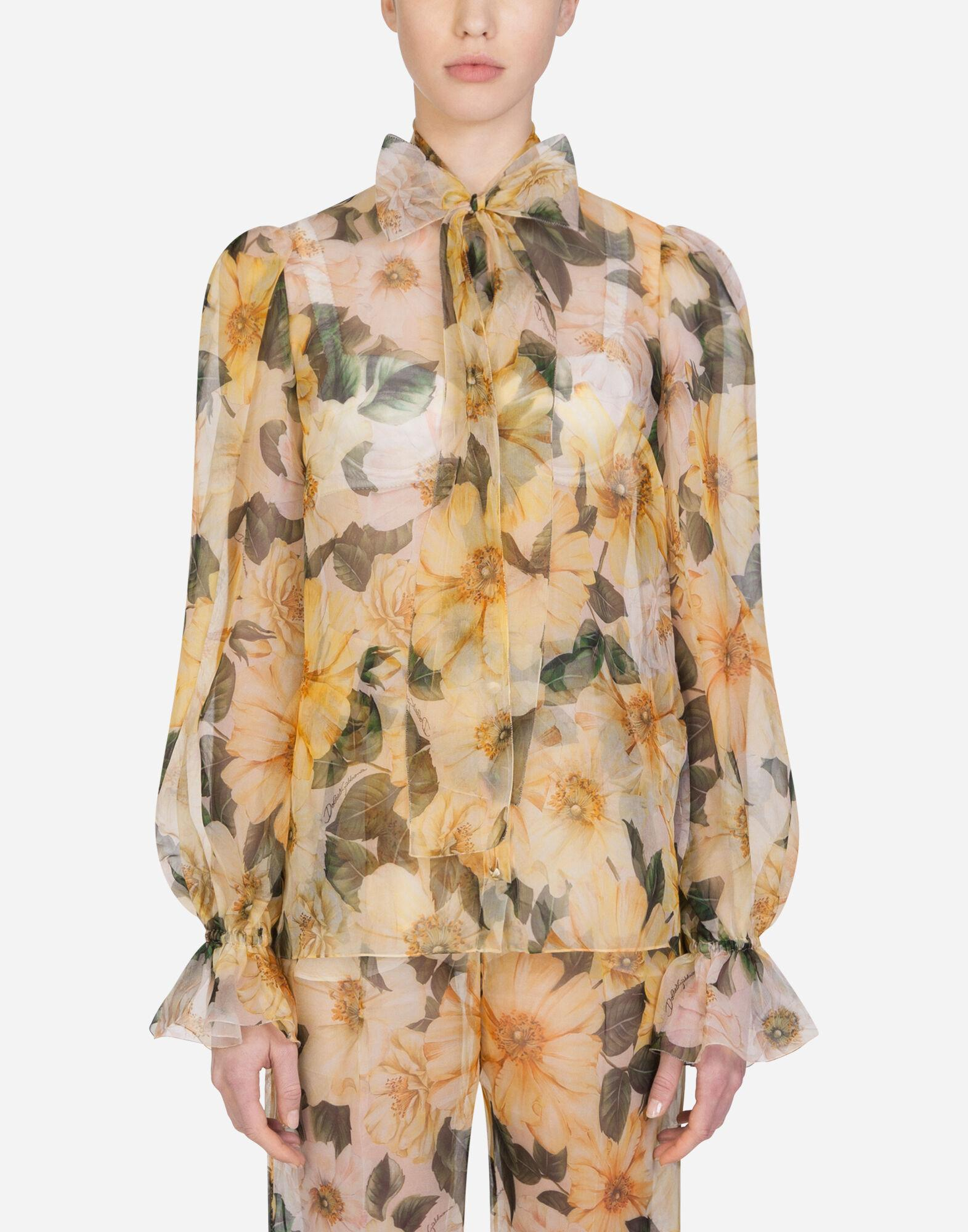 Camellia-print organza shirt with pussy bow