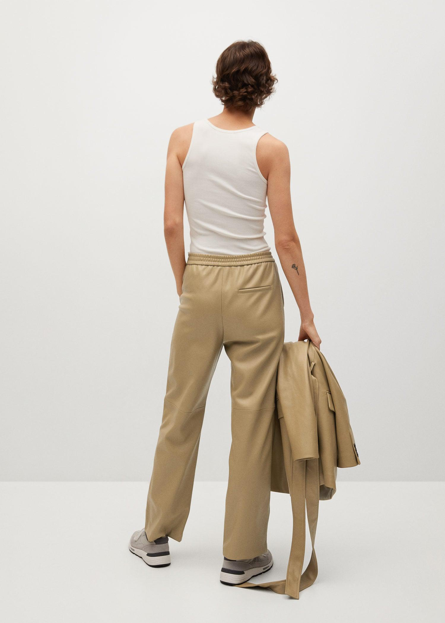 Leather-effect straight trousers 2