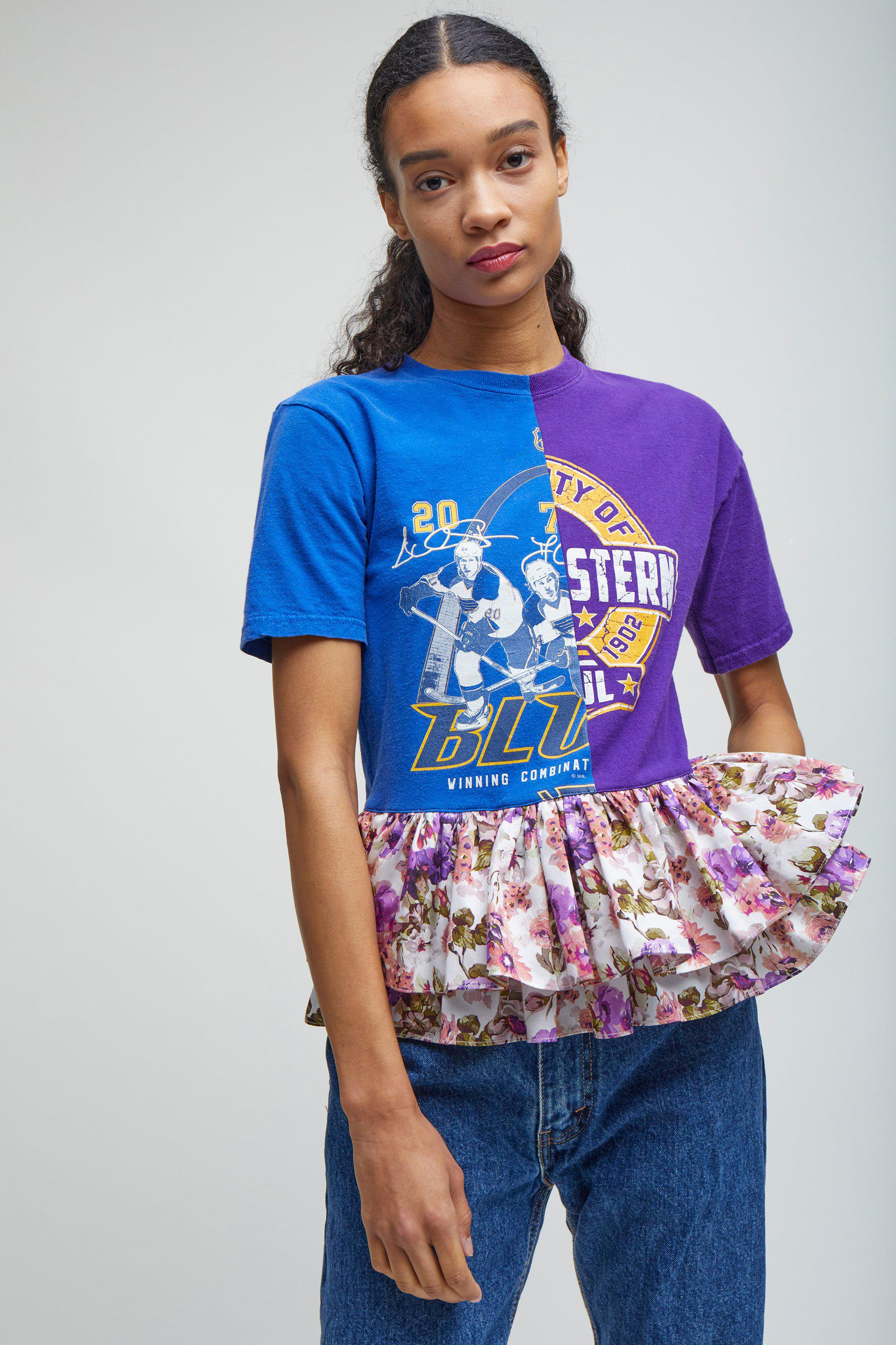 FLORAL RUFFLE TEE - S