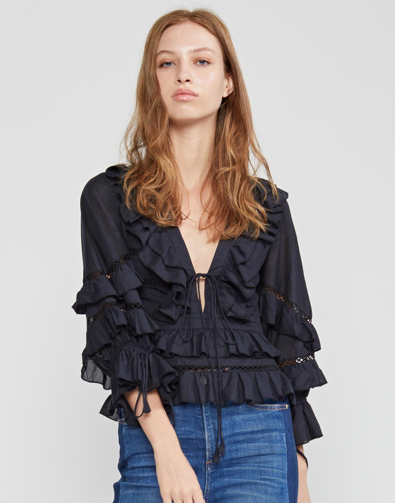 Stella Tie Front Tiered Blouse 3