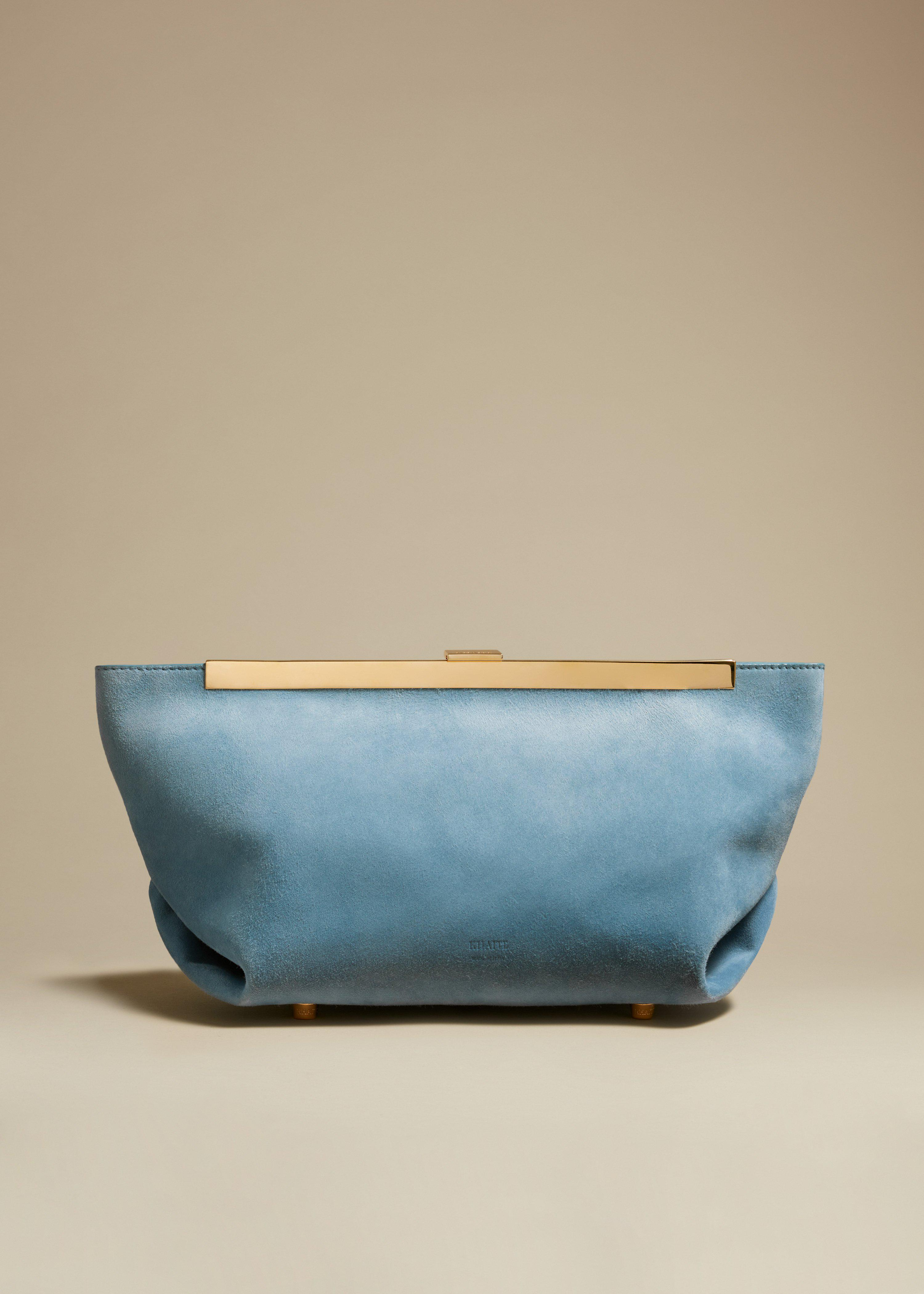 The Aimee Clutch in Atmosphere Suede