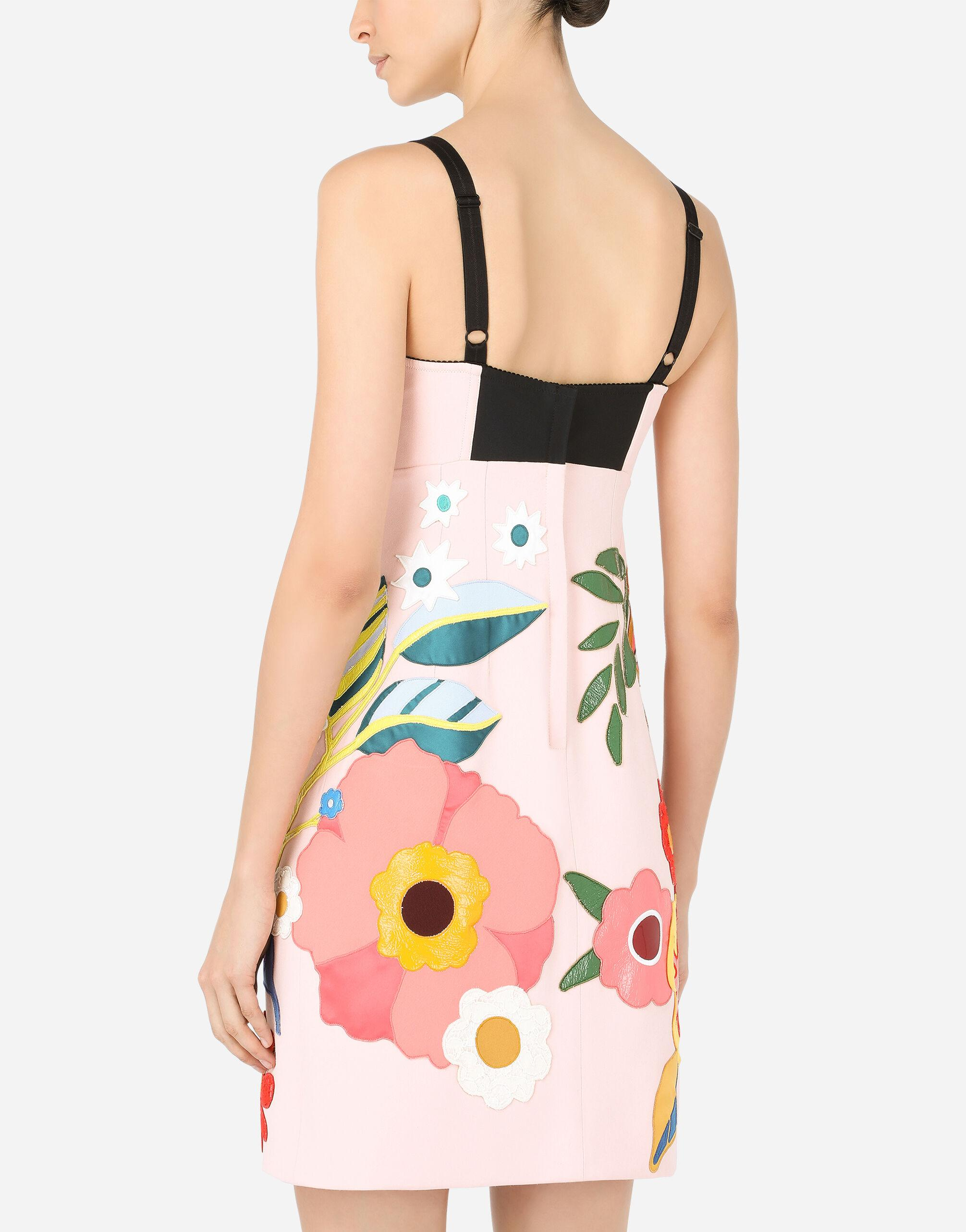 Short cady slip dress with floral patches 3