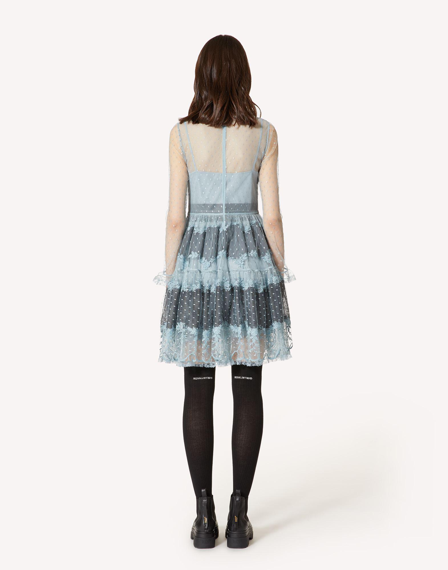 POINT D'ESPRIT TULLE DRESS WITH LACE RIBBONS 1