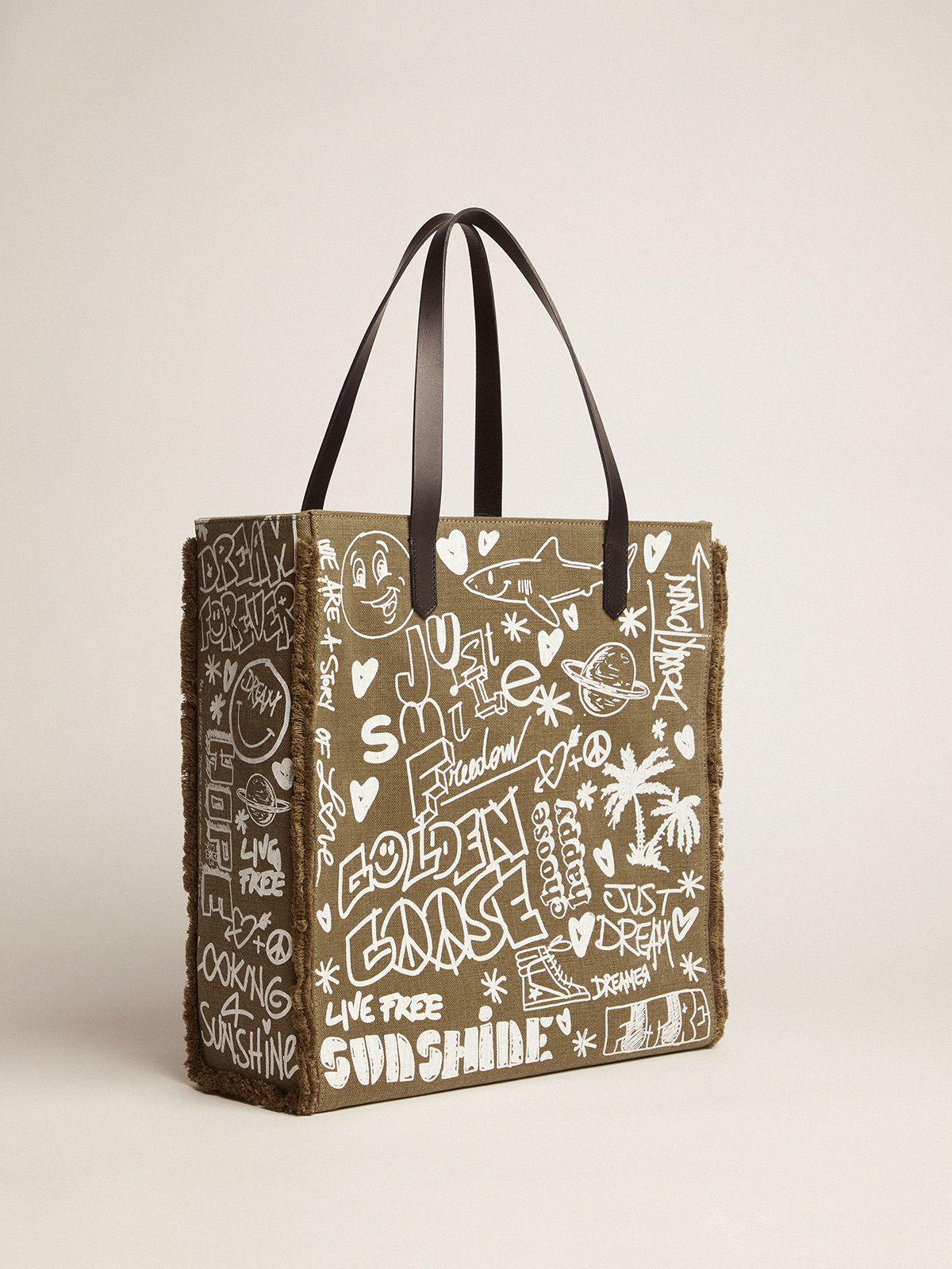 North-South California Bag in military green canvas with graffiti 3