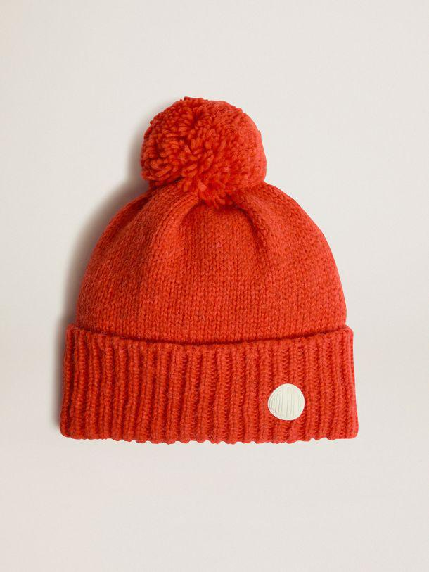 Orange wool Journey Collection Didi beret with pompom