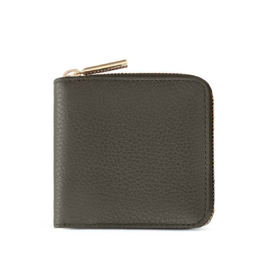 Women's Small Classic Zip Around Wallet in Dark Olive/Blush Pink | Pebbled Leather by Cuyana