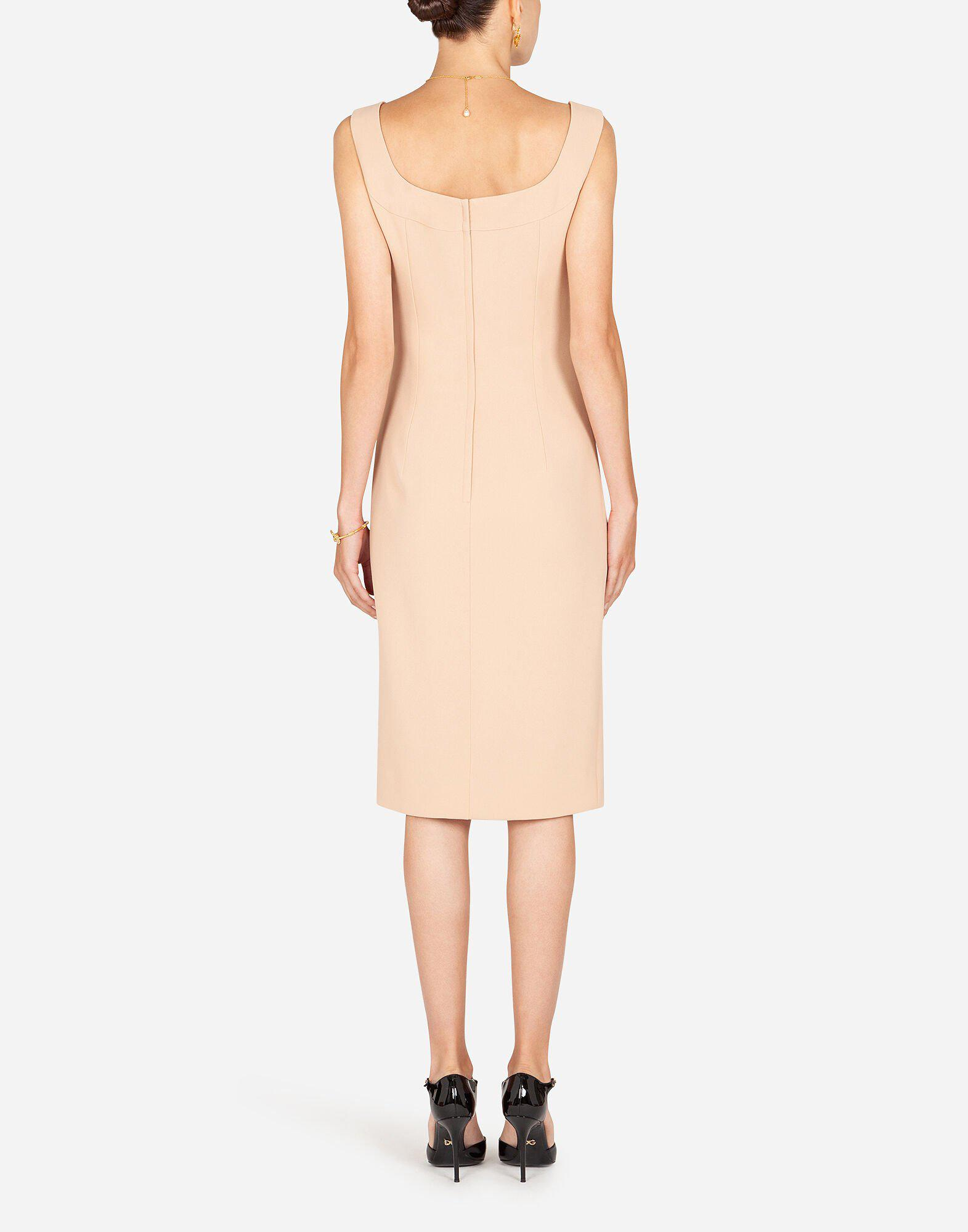 Midi dress in cady fabric with slit 1