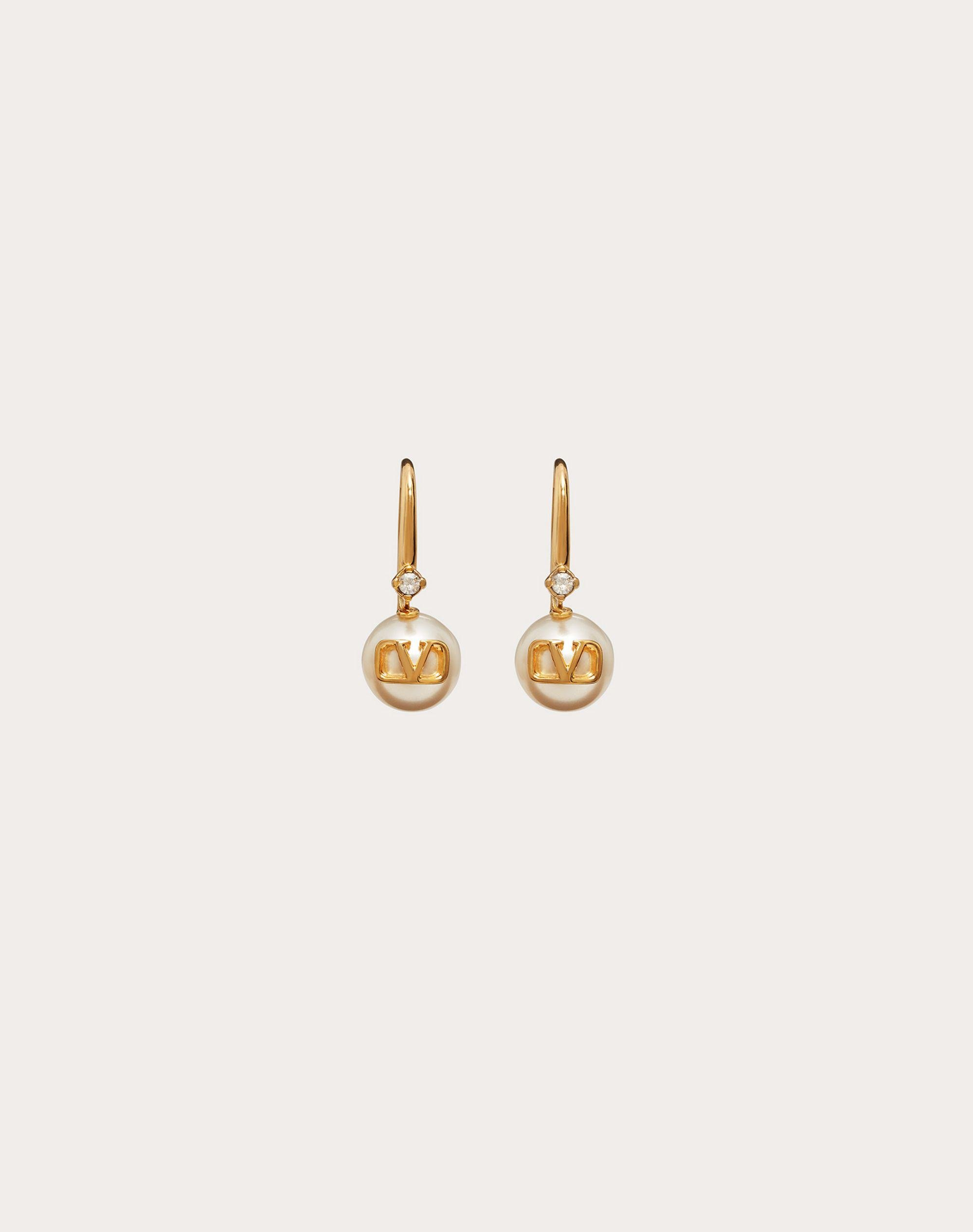 VLogo Signature Earrings with Pearls and Crystals