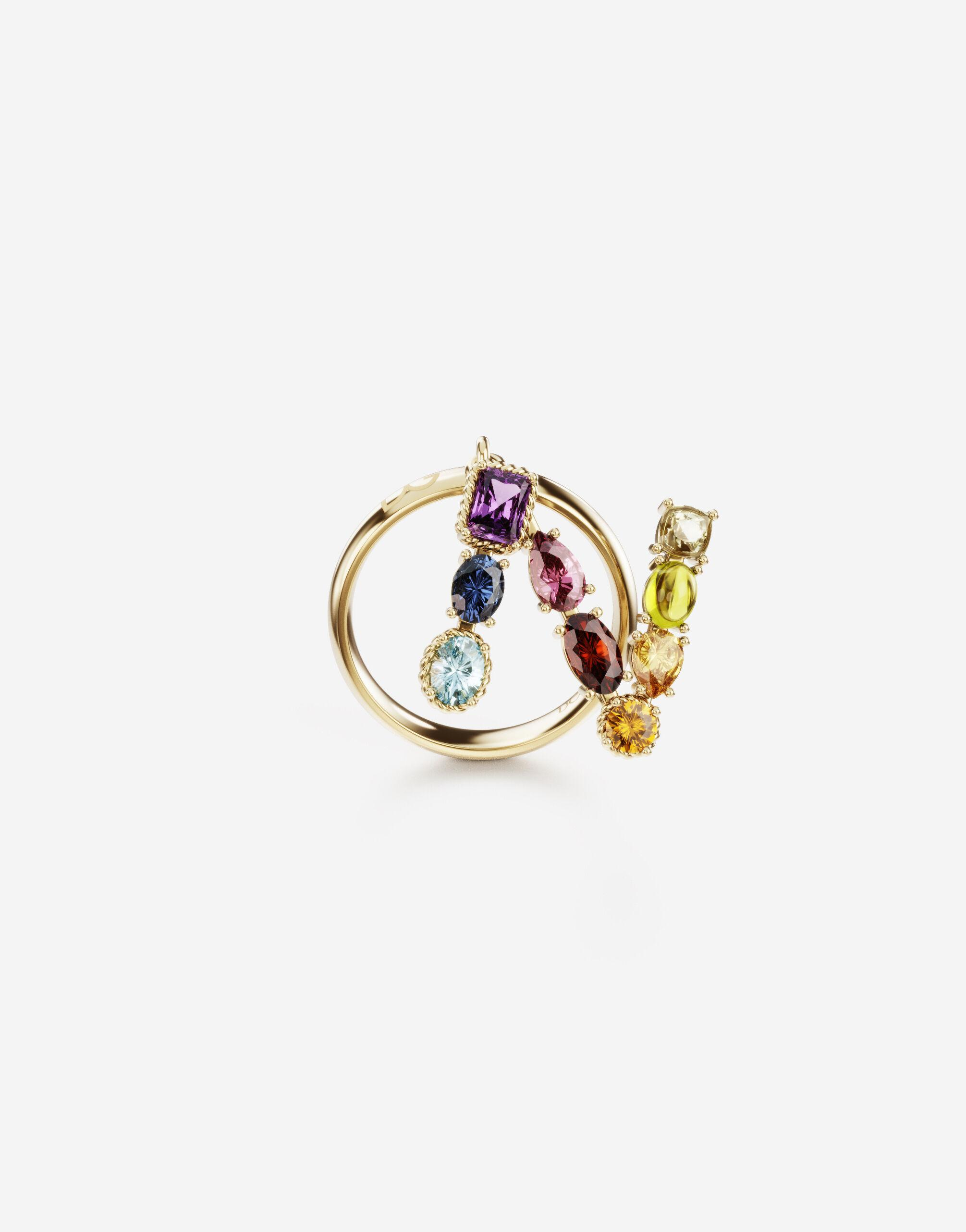 Rainbow alphabet N ring in yellow gold with multicolor fine gems