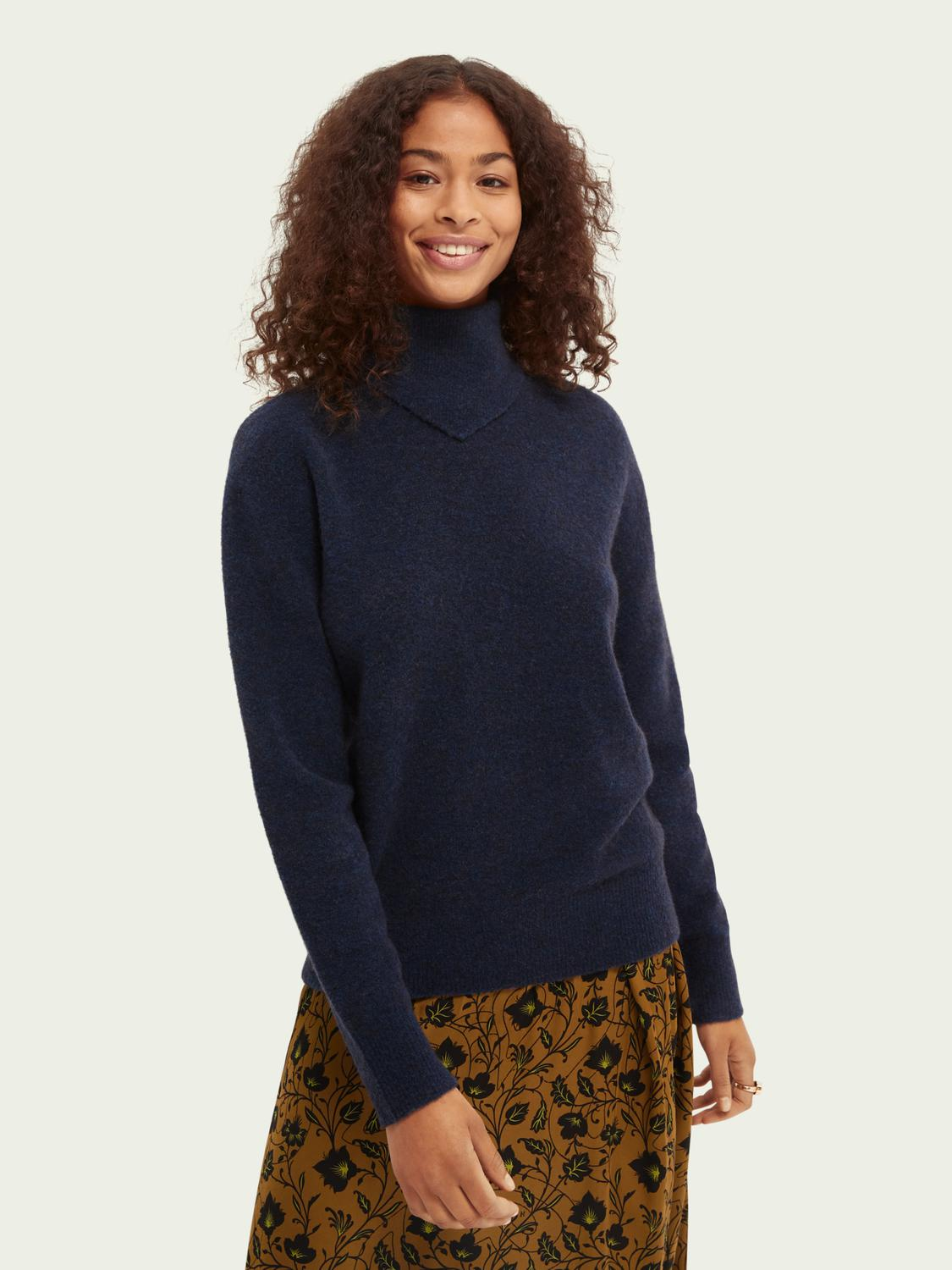 Scarf-detailed regular-fit knit sweater