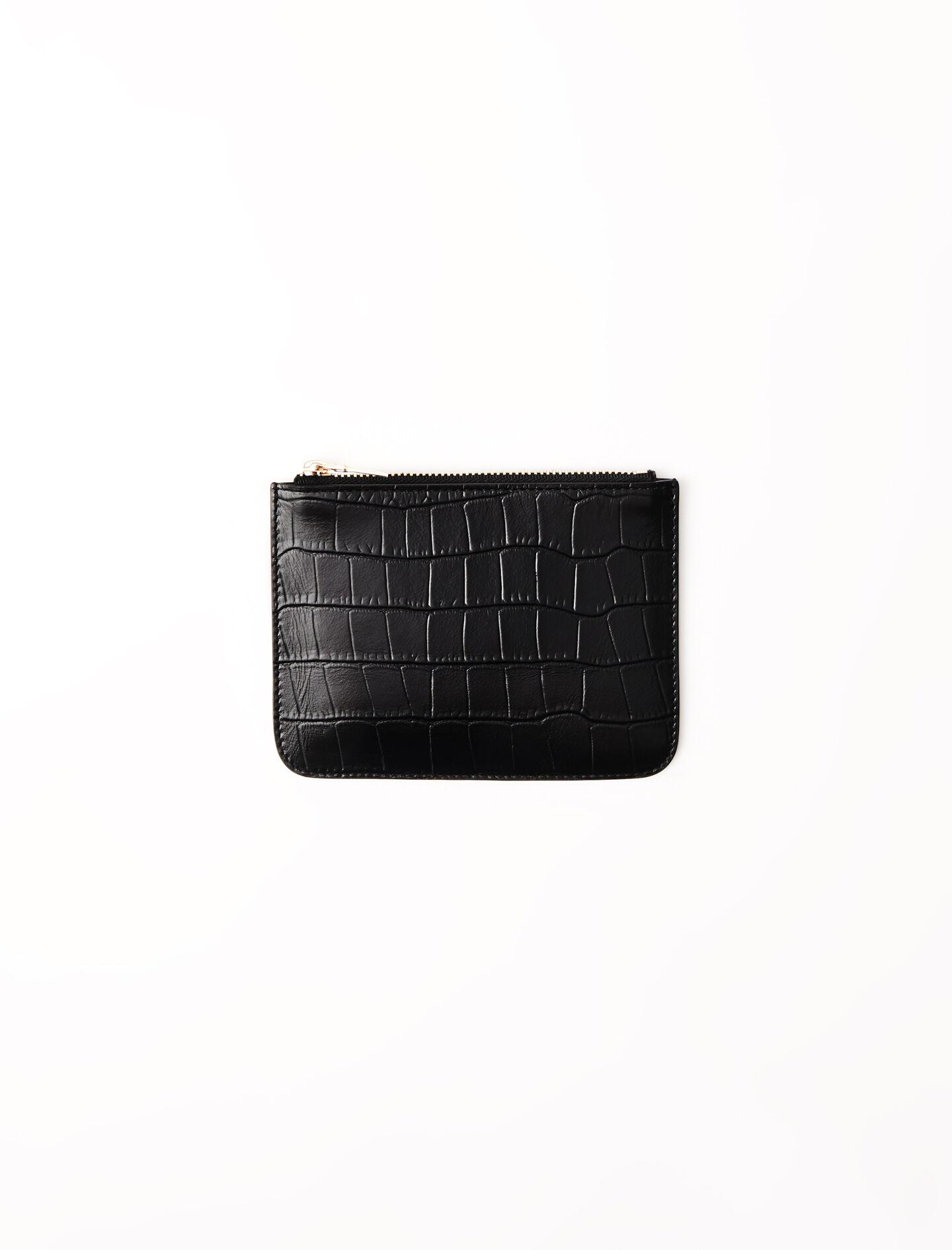 ZIPPED EMBOSSED-LEATHER POUCH