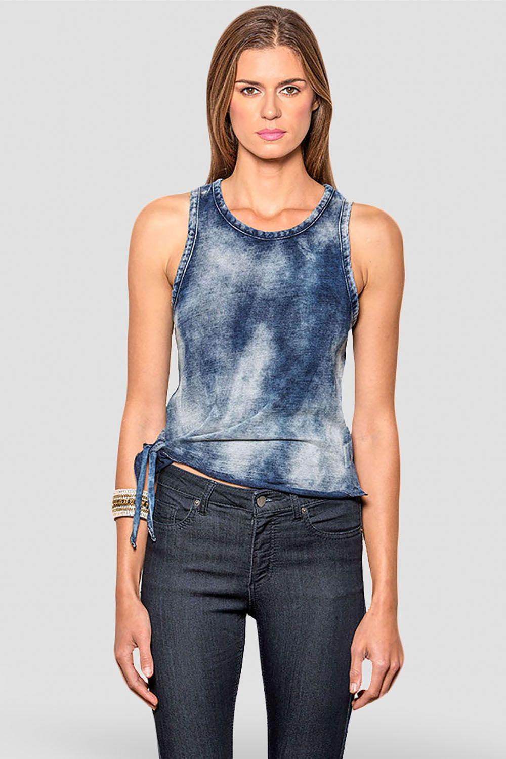 Margret Mineral Washed Indigo Jersey Tank Top With A Side Tie