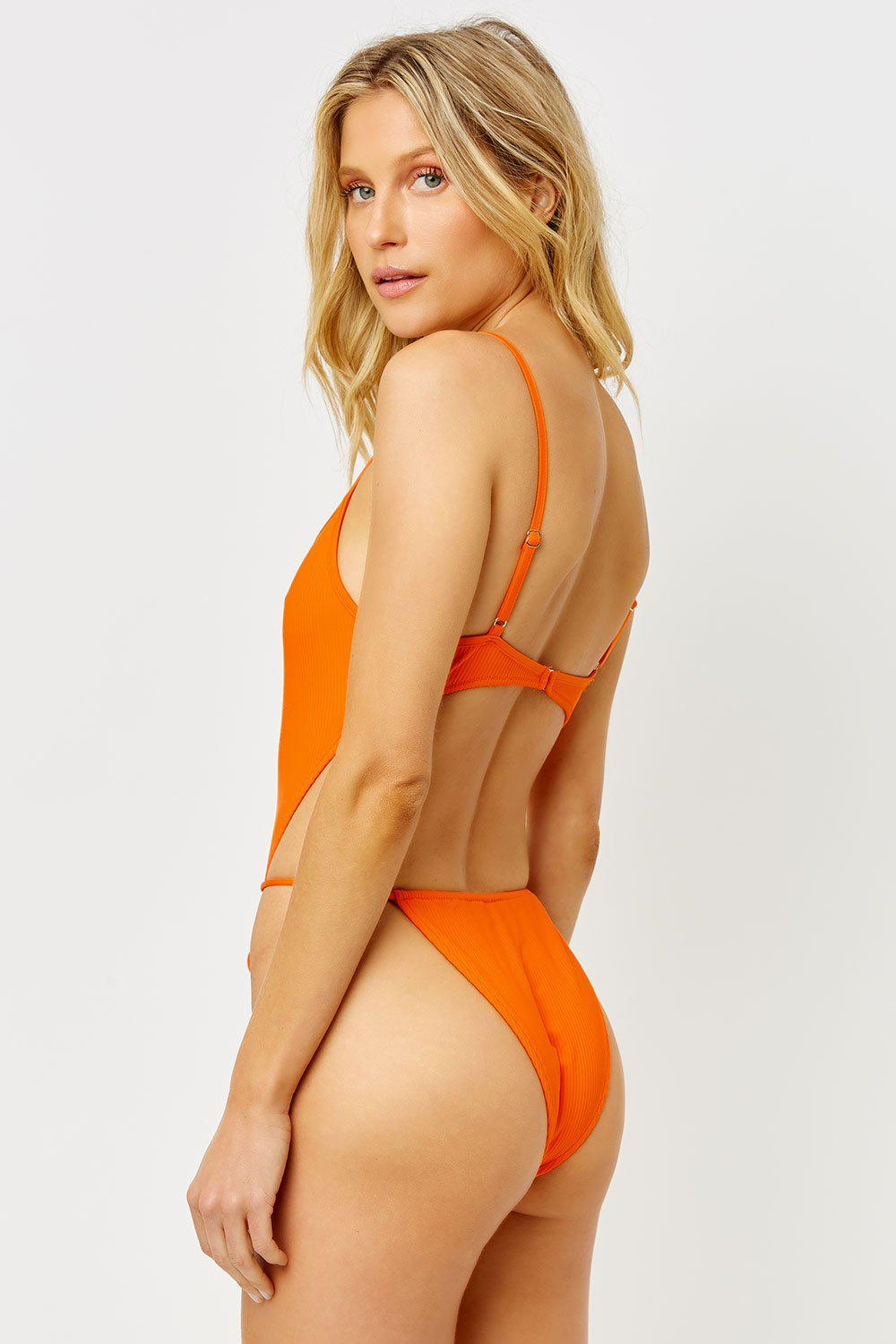 Croft Ribbed High Cut One Piece Swimsuit - Marmalade 3