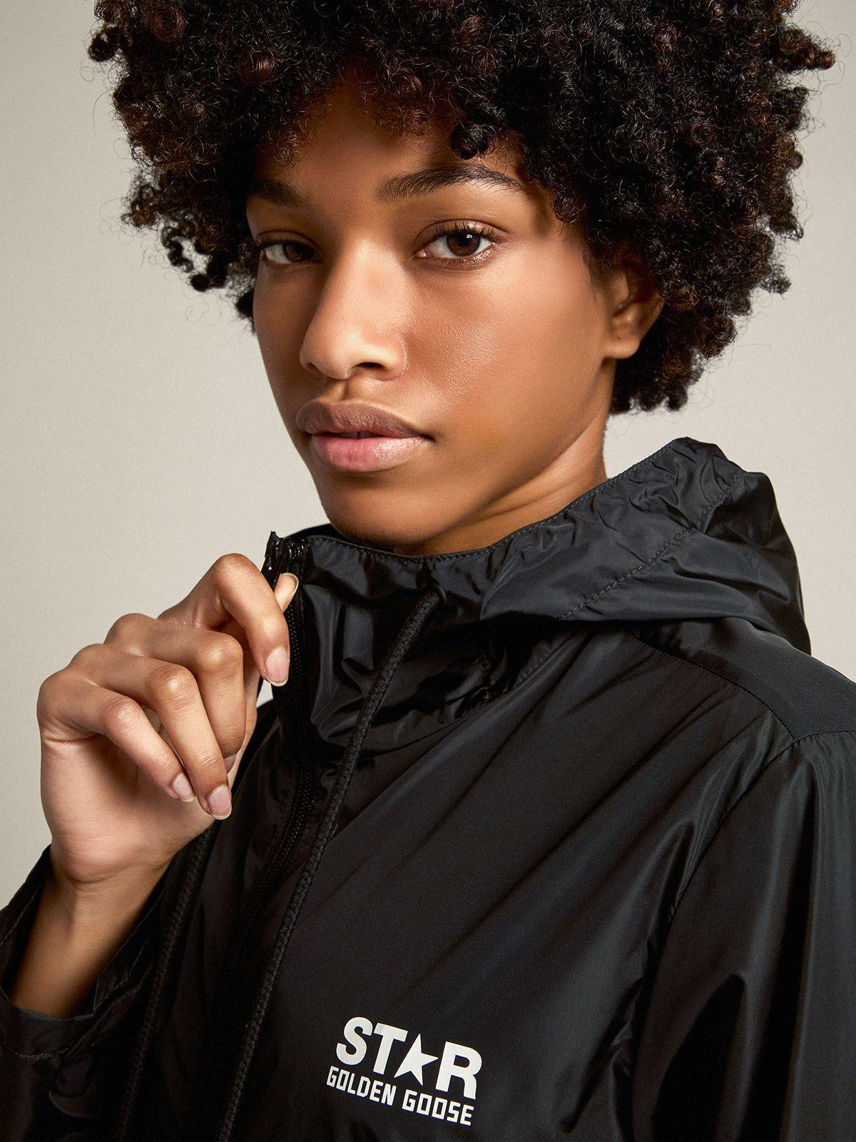 Daris Star Collection windcheater in black nylon with contrasting white logo and star