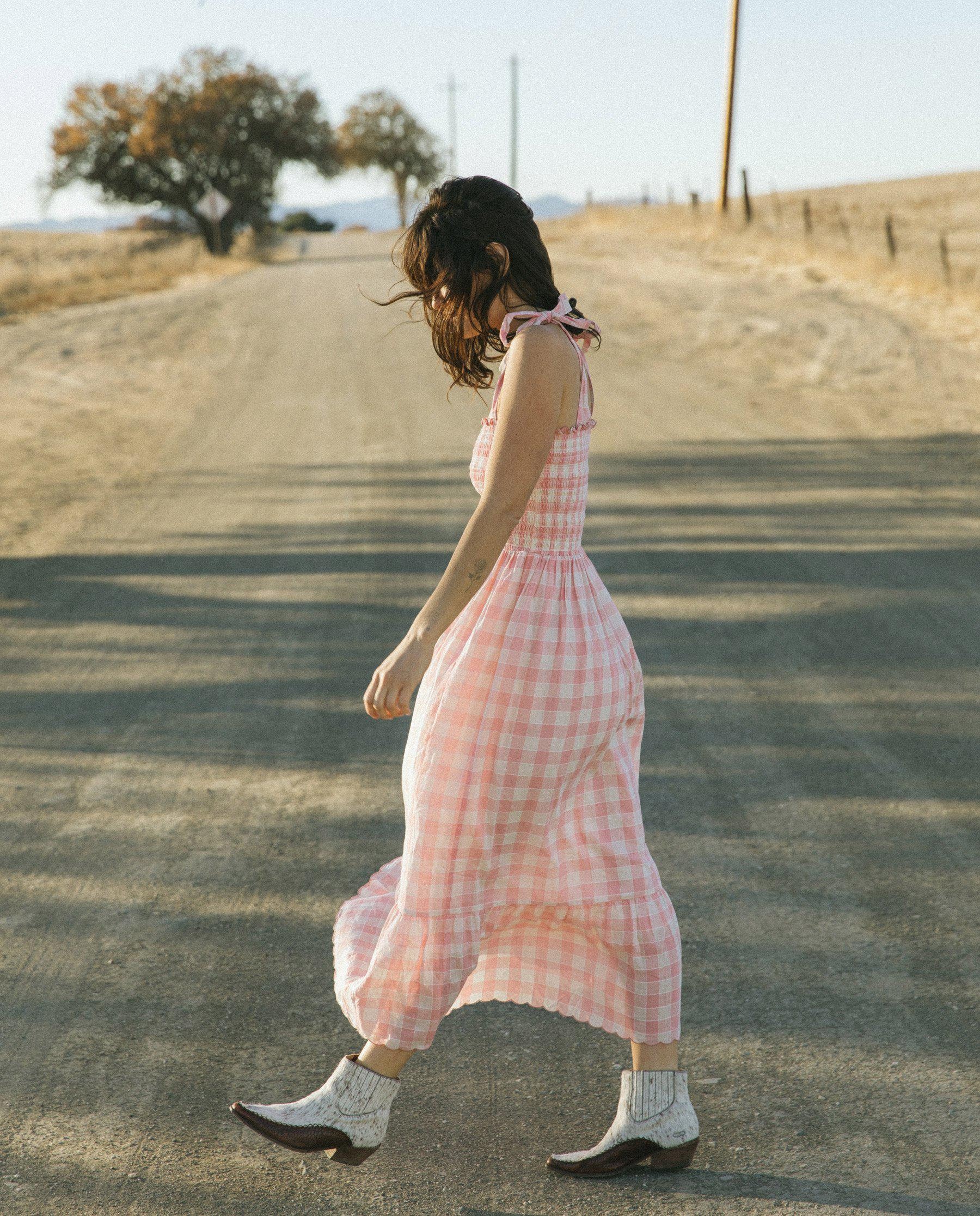 The Lagoon Dress. -- Pink with Cream Gingham 1