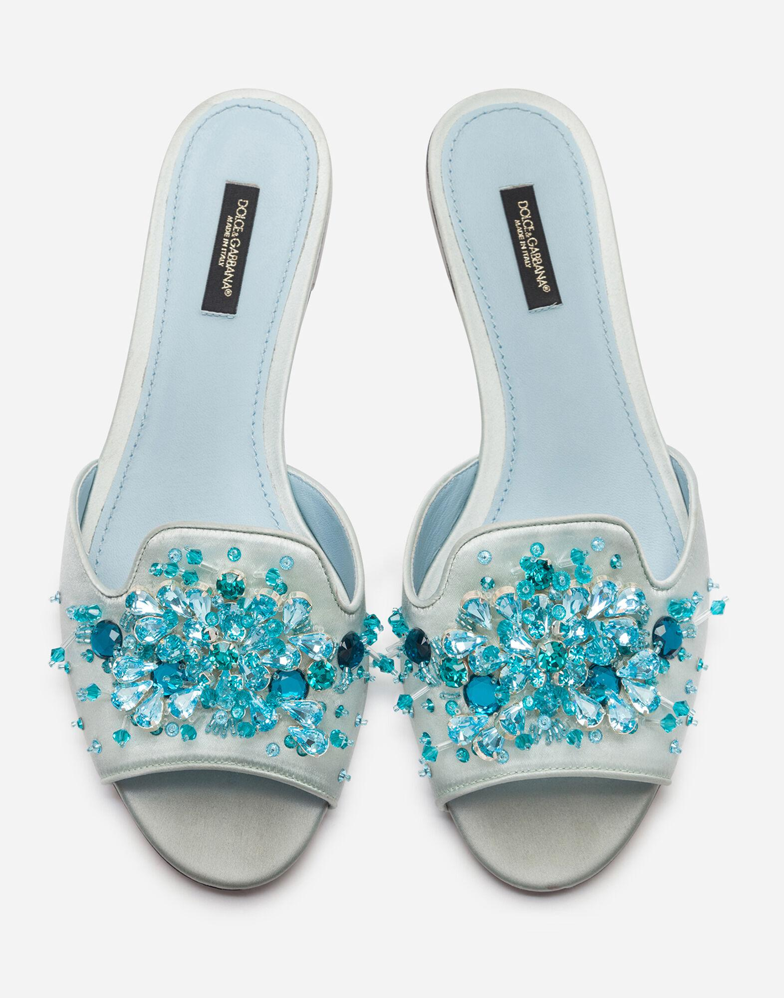 Satin sliders with bejeweled embellishment 2