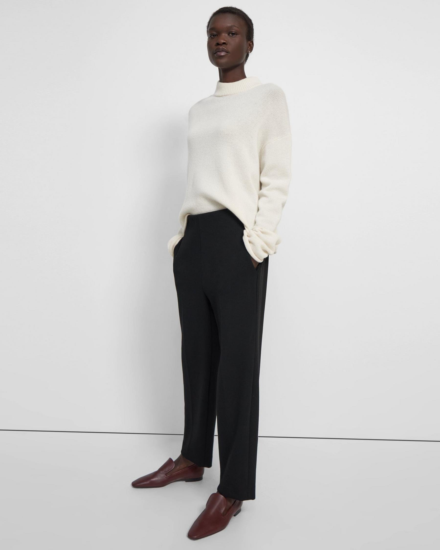 Clean Pull-On Pant in Double-Knit Jersey