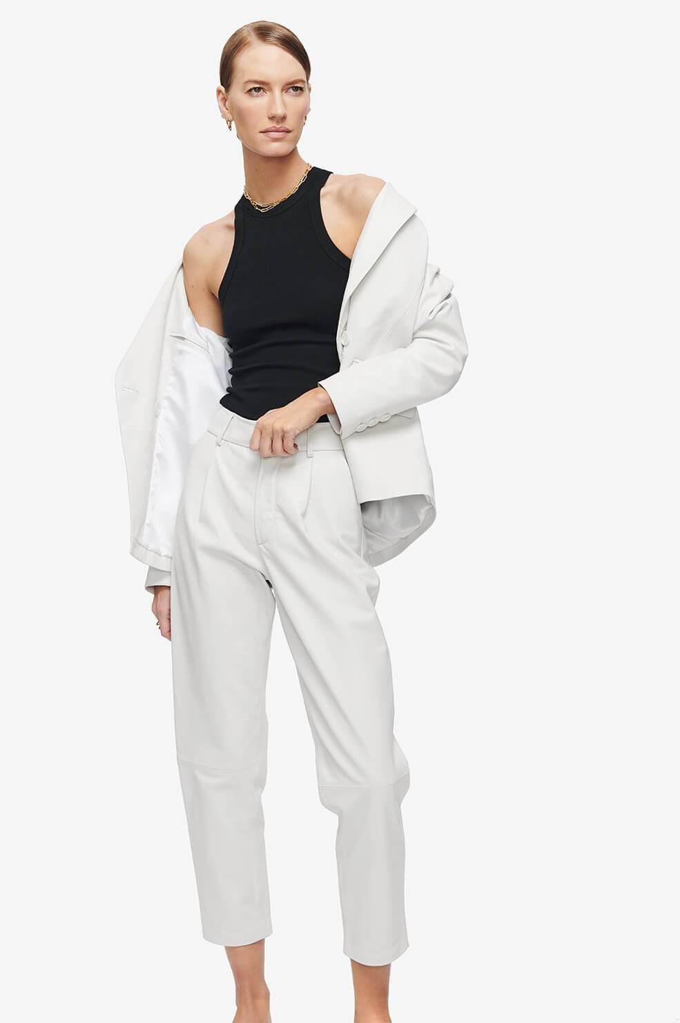 Becky Leather Trouser - White