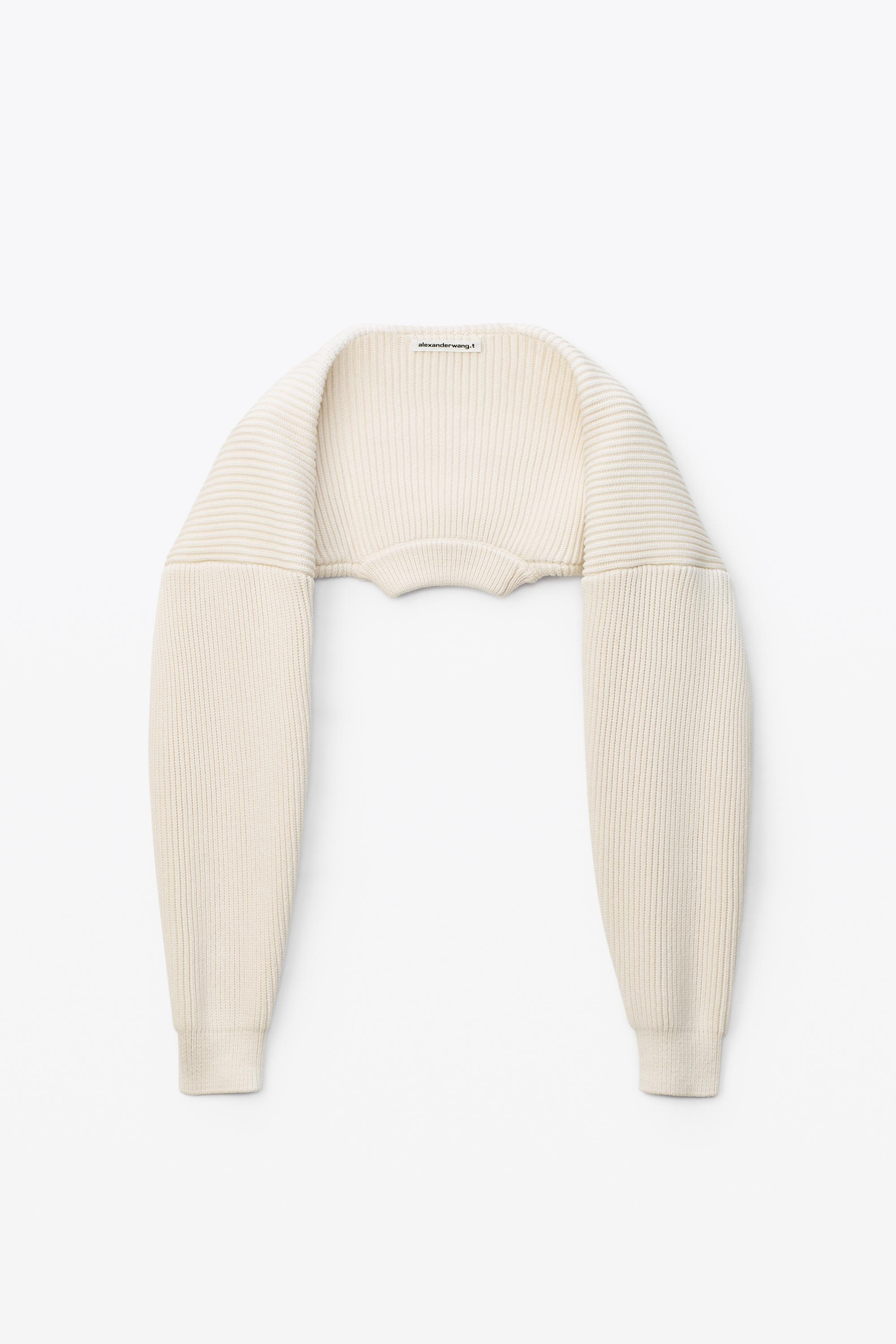 crewneck shrug in ribbed cotton chainette 1