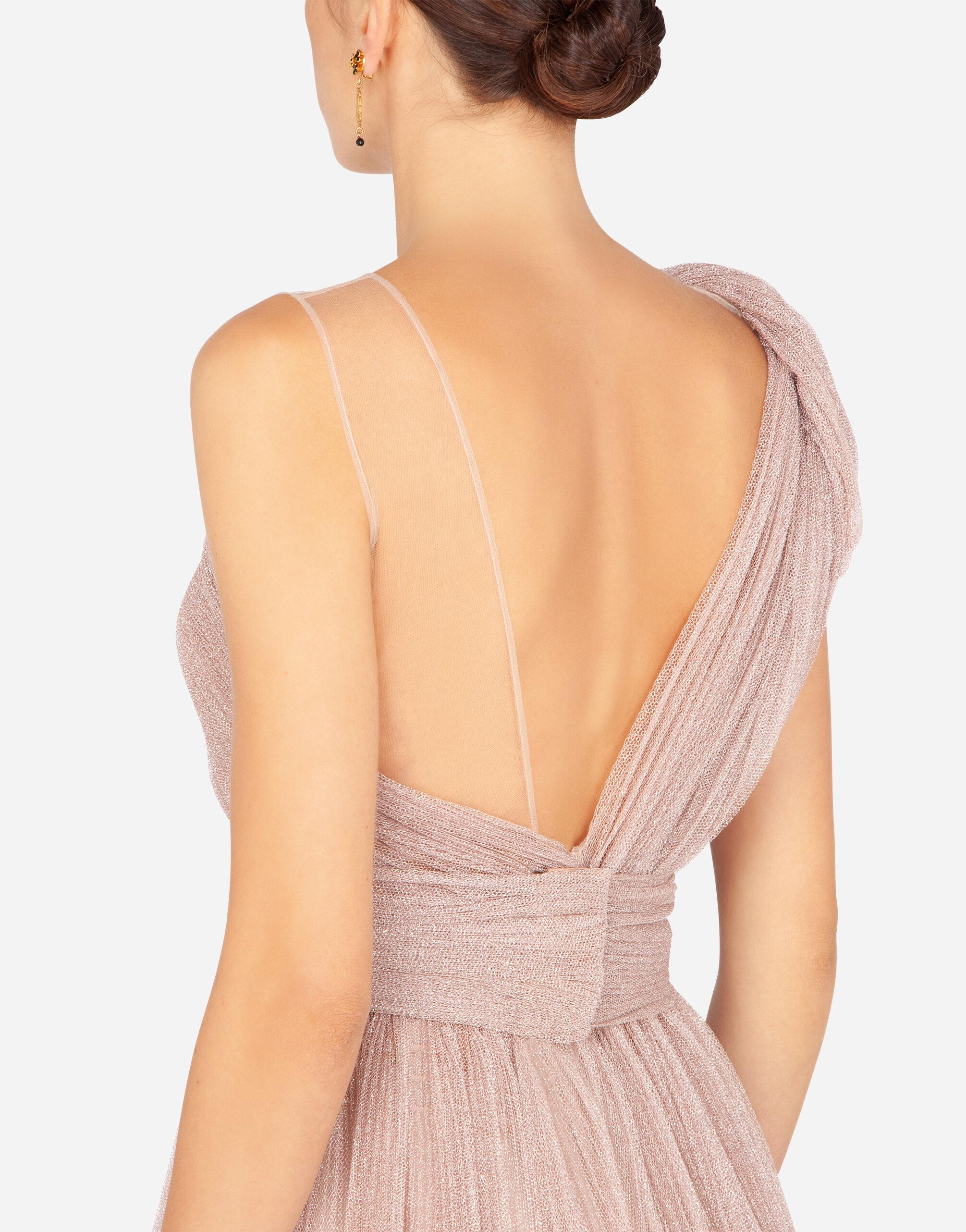 One-shoulder midi dress in pleated lamé tulle 3