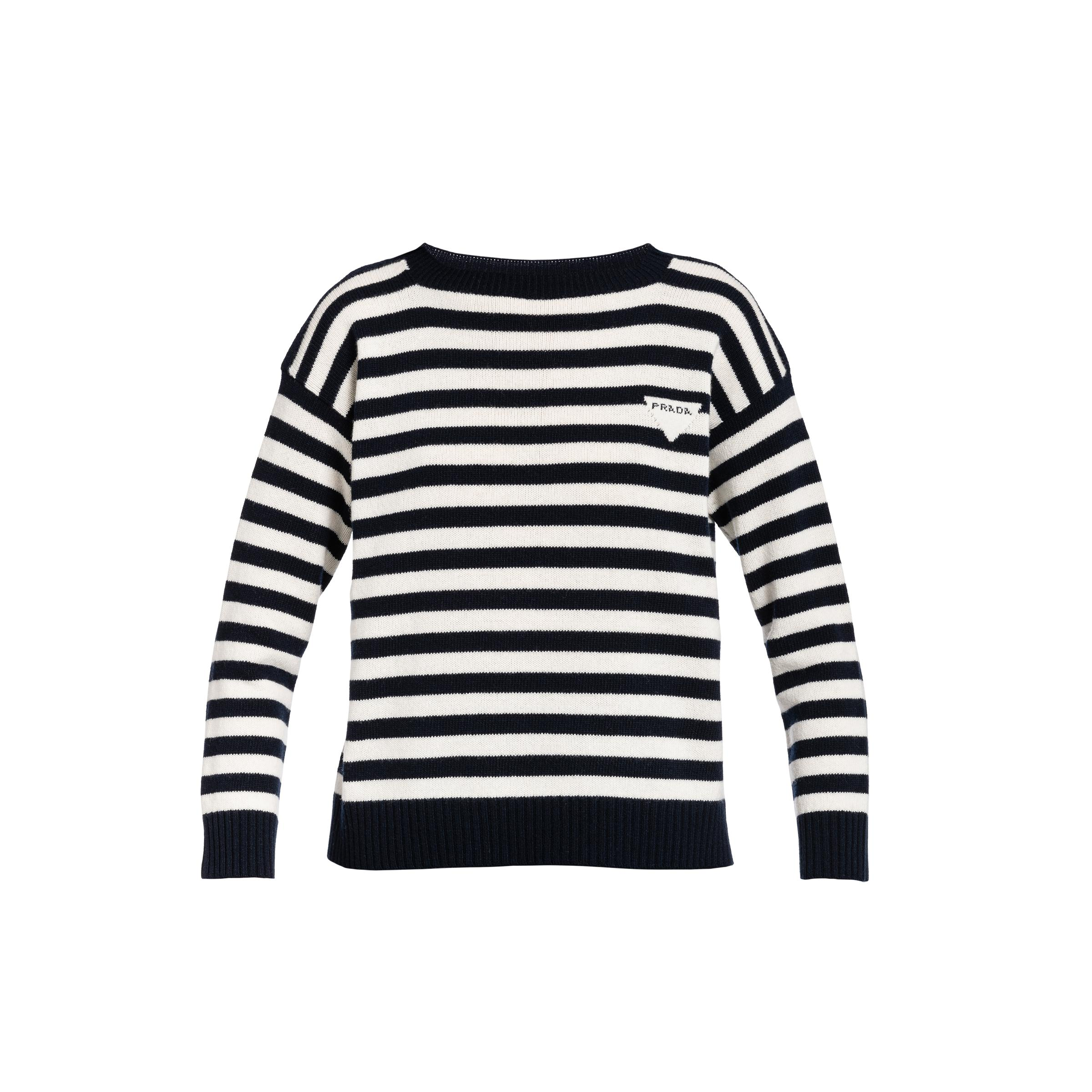 Wool And Cashmere Boat Neck Sweater Women Blue/white