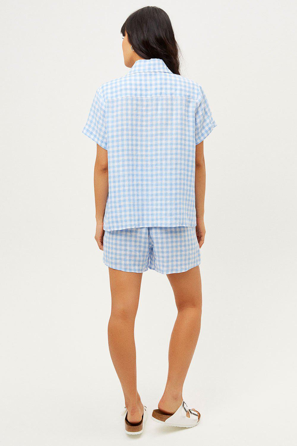 Lou Button Up Top - Bluebell 1