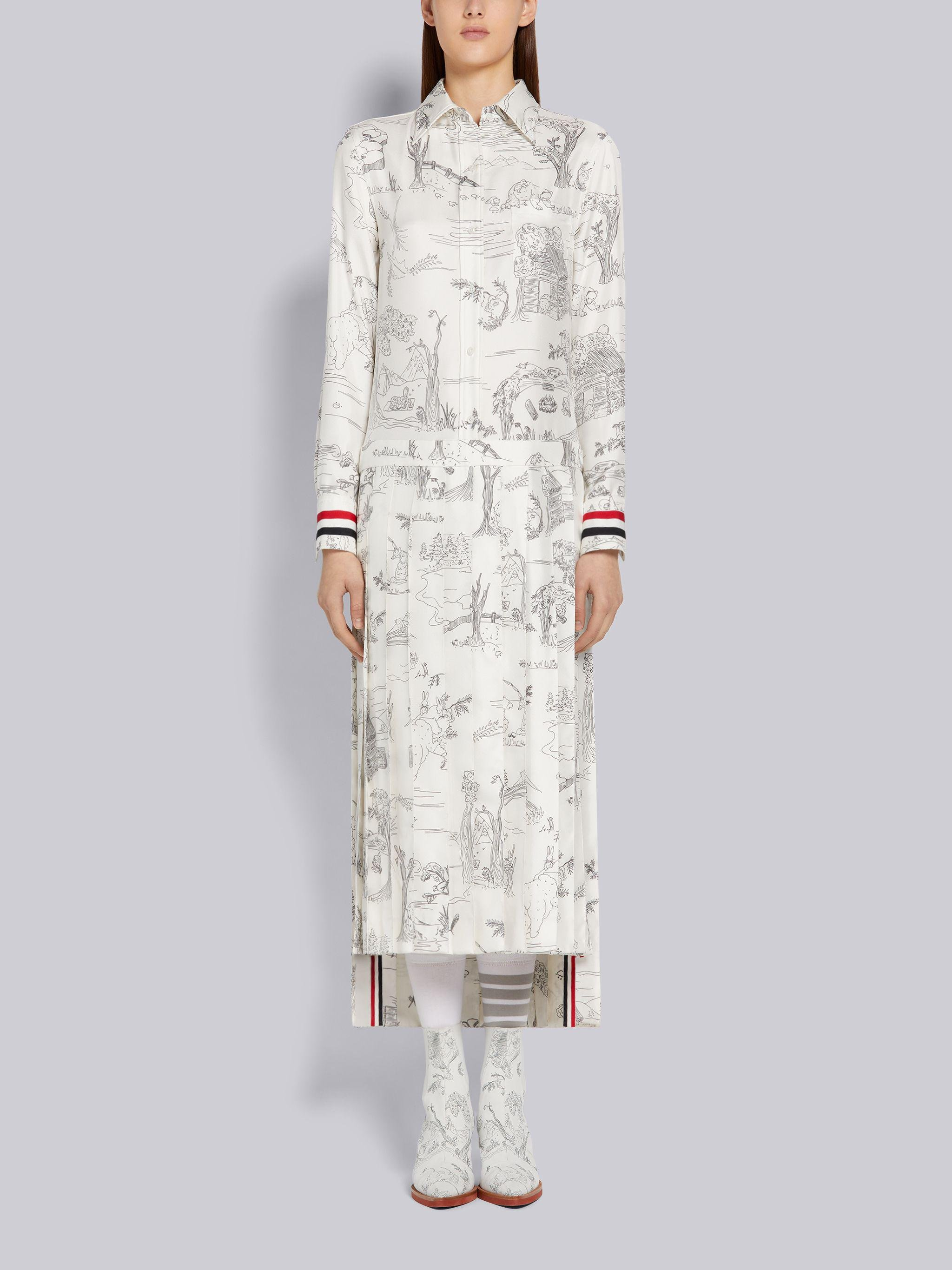 White Silk Twill Animal Camp Toile Grosgrain Cuff Dropped Back Pleated Bottom Below-the-Knee Shirtdress