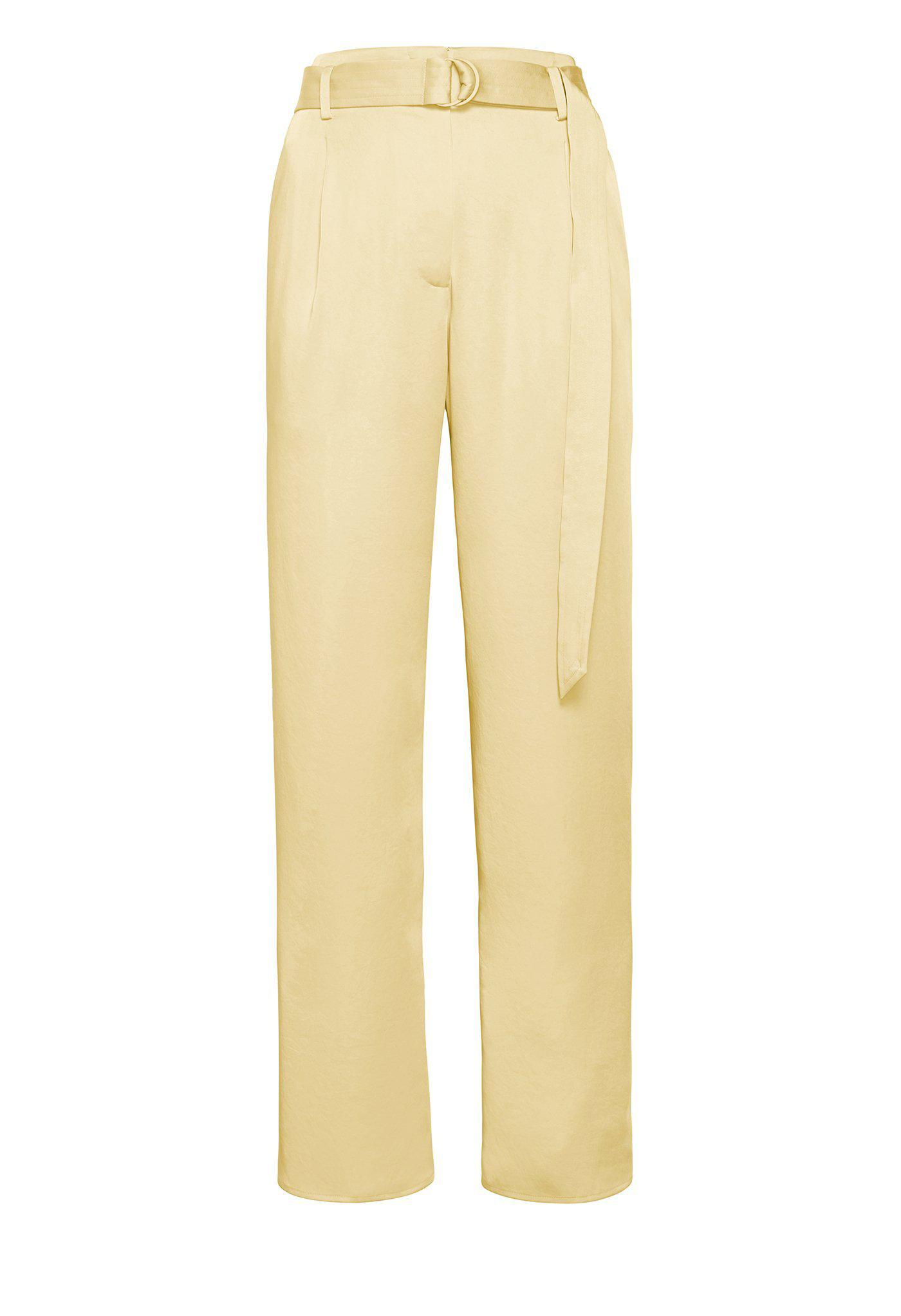 SATIN BELTED CROPPED PANT