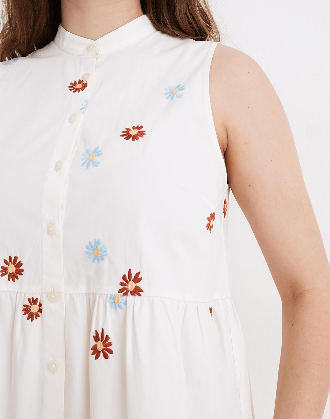 Daisy Embroidered Banded-Collar Tiered Dress 4