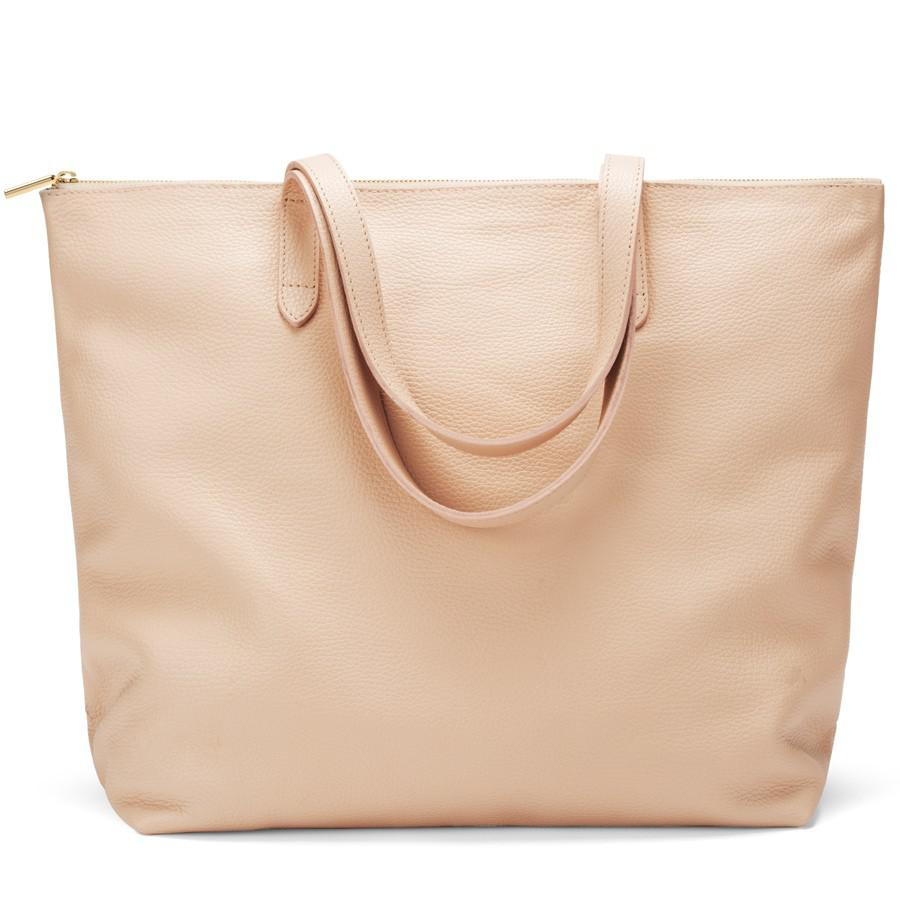 Women's Classic Leather Zipper Tote Bag in Blush Pink | Pebbled Leather by Cuyana