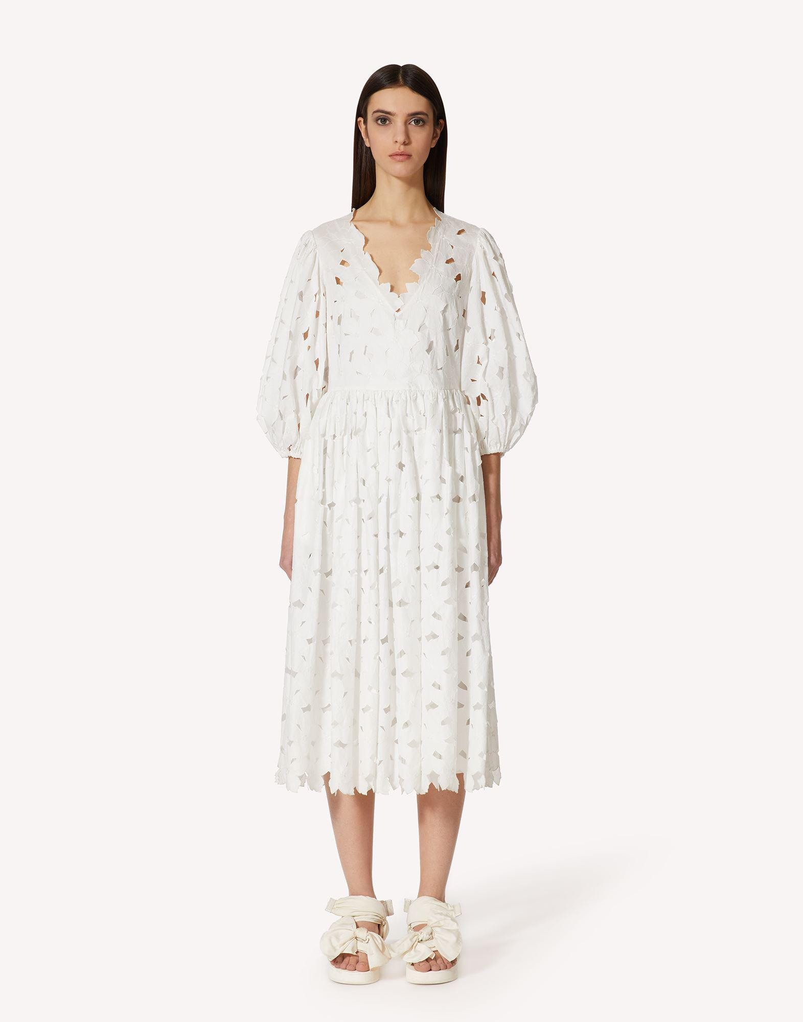 COTTON POPLIN DRESS WITH CUT-OUT EMBROIDERY