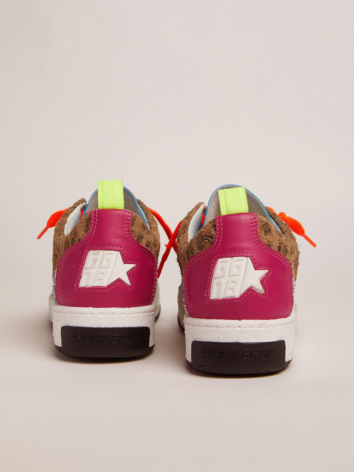 Yeah sneakers with silver glitter, animal-print and colored leather patchwork 3