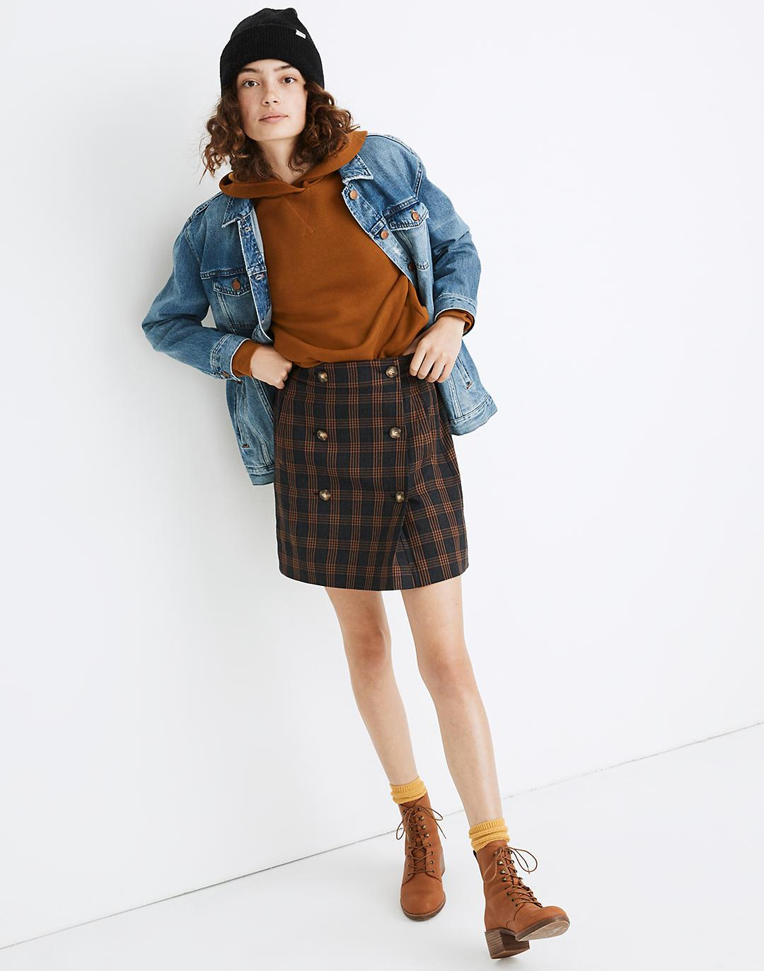 Plaid Double-Breasted Mini Skirt