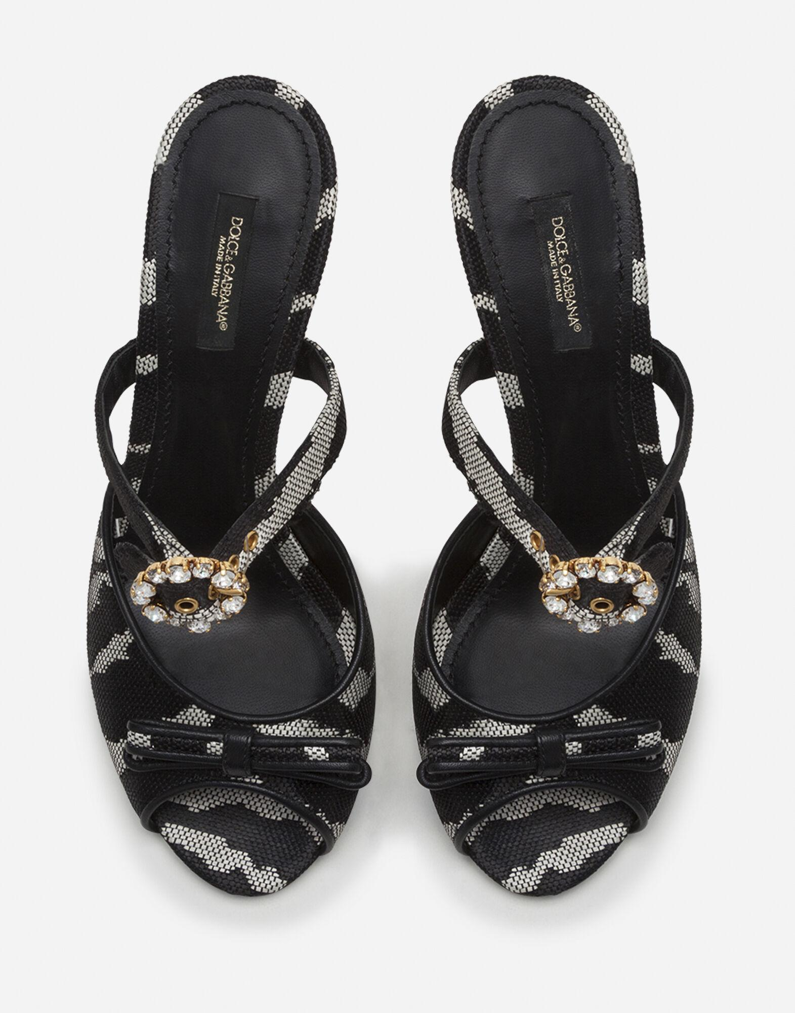 Mules in raffia jacquard with zebra print with bejeweled buckle 3